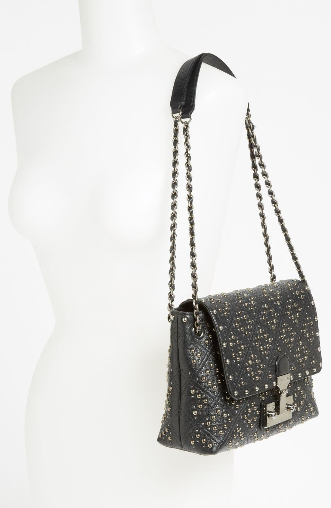 'Baroque Studs Single - Large' Leather Crossbody Bag,                             Alternate thumbnail 2, color,                             Black/Antique Silver