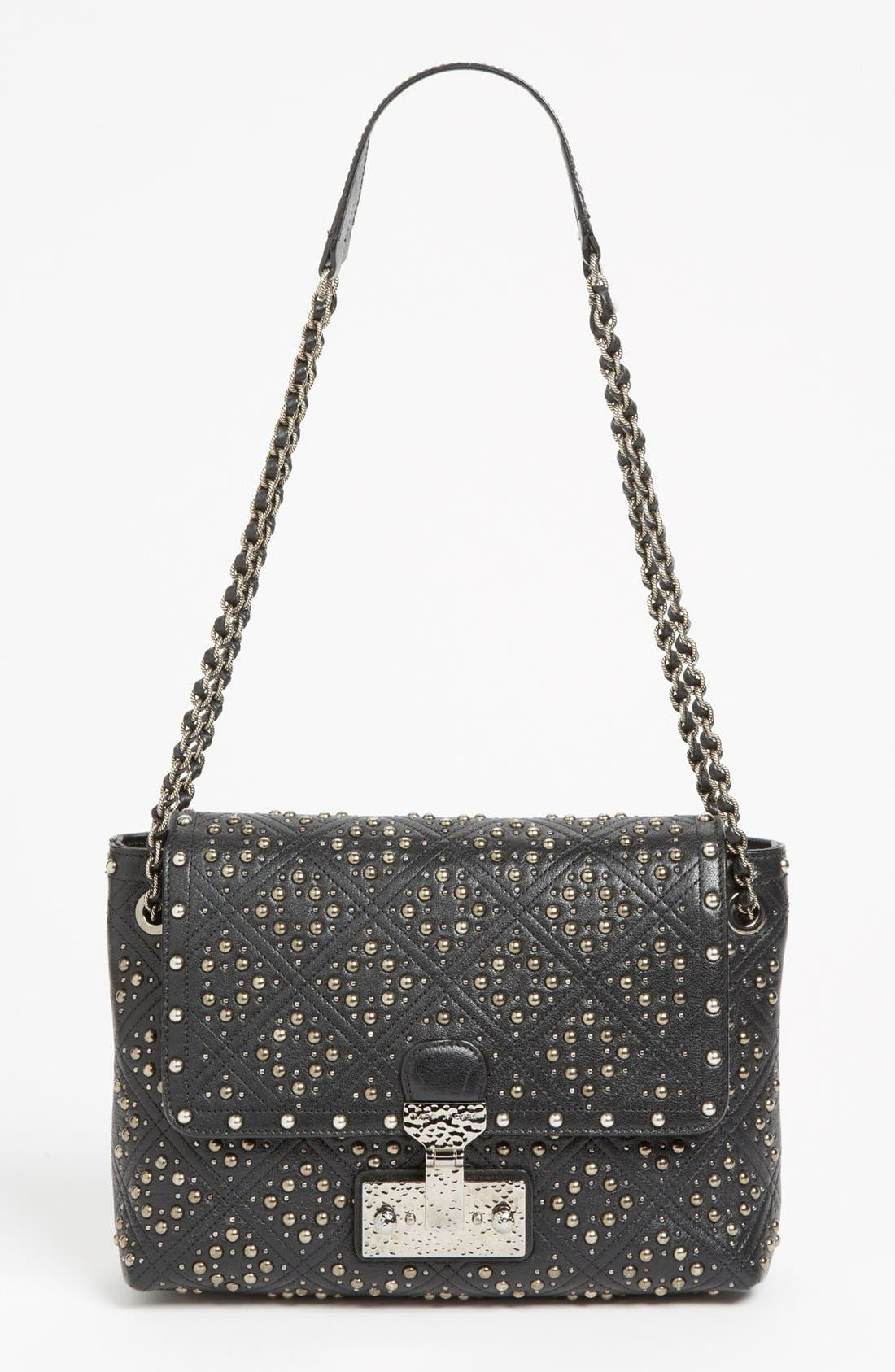 'Baroque Studs Single - Large' Leather Crossbody Bag,                         Main,                         color, Black/Antique Silver