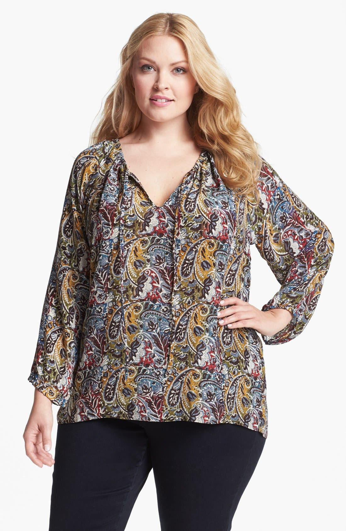Alternate Image 1 Selected - Tolani 'Randy' Silk Tunic Blouse (Plus Size)