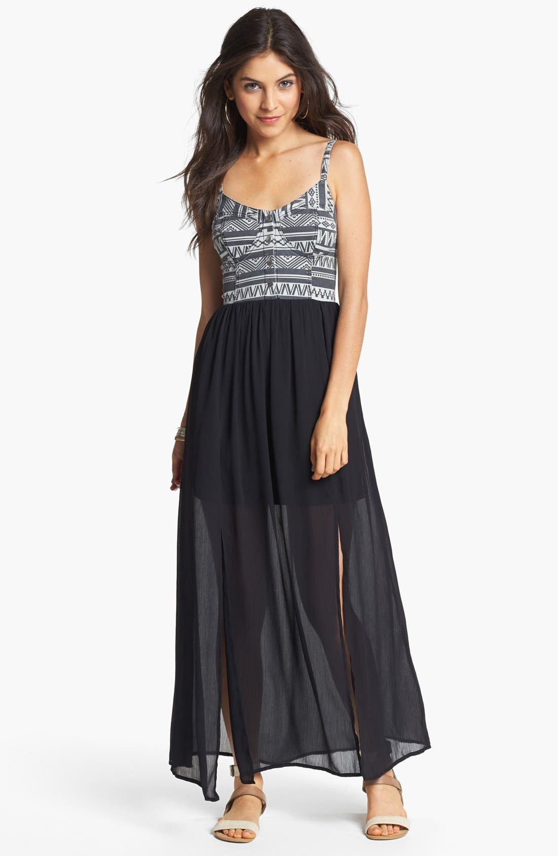Main Image - Fire Bustier Maxi Dress (Juniors)