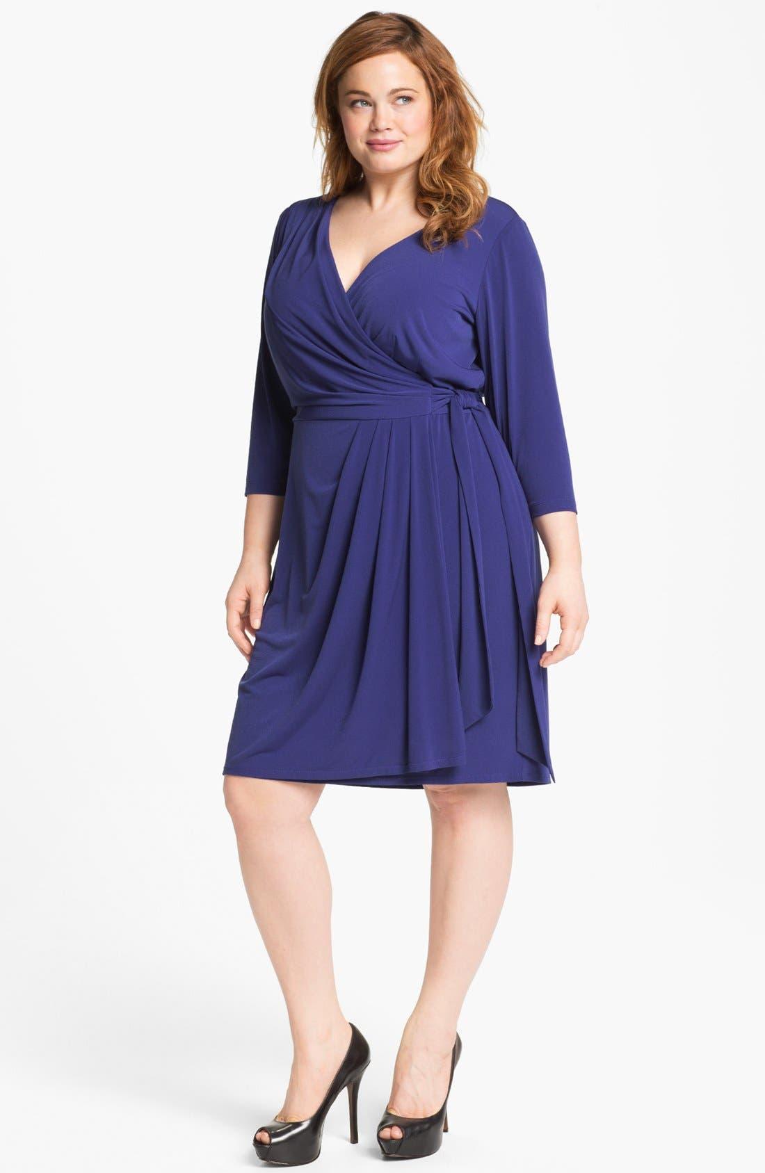 Main Image - Suzi Chin for Maggy Boutique Jersey Faux Wrap Dress (Plus Size)
