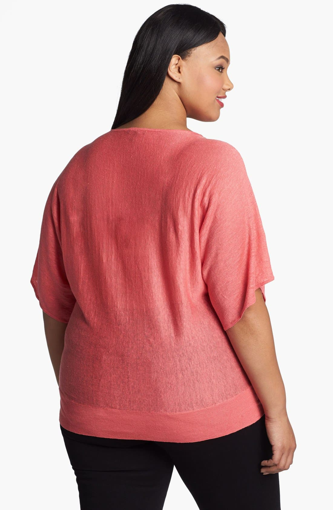 Alternate Image 2  - Eileen Fisher Dolman Sleeve Linen Tunic (Plus Size)
