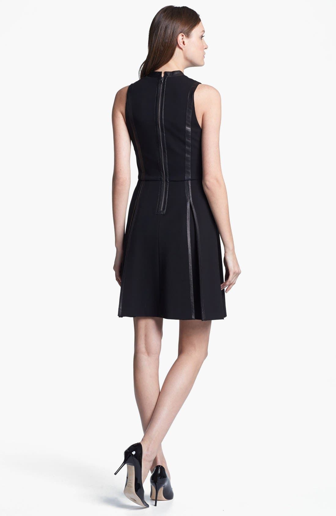 Alternate Image 2  - Rebecca Taylor Knit & Leather A-Line Dress