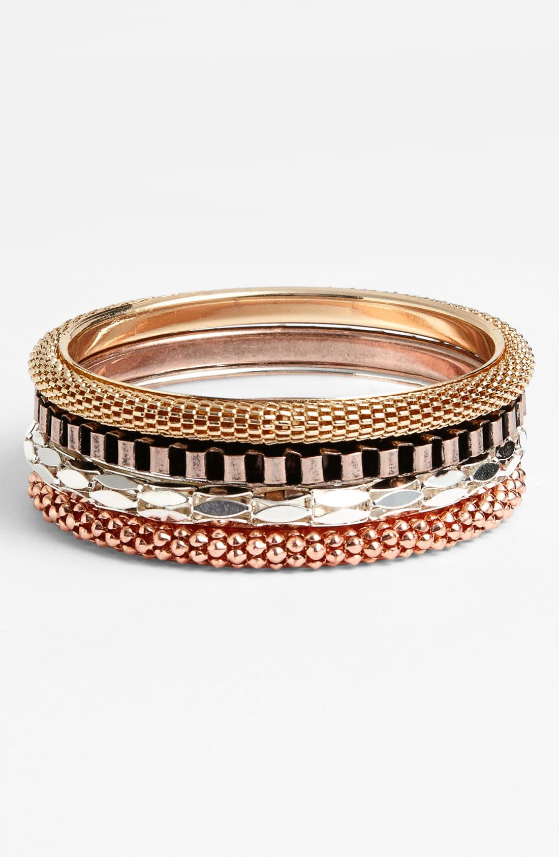 Alternate Image 1 Selected - Carole Mixed Metallic Bangles (Set of 4) (Juniors)