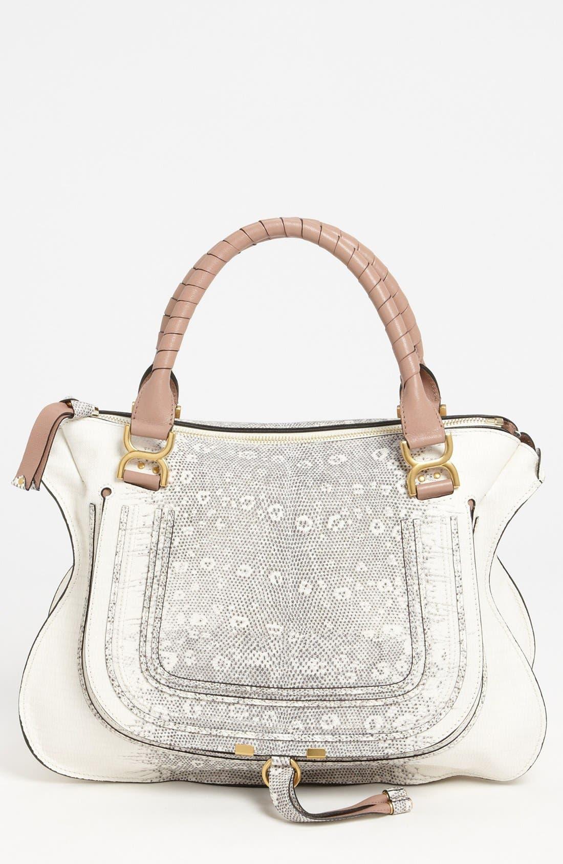 Alternate Image 1 Selected - Chloé 'Marcie - Large' Lizard Print Leather Shoulder Bag