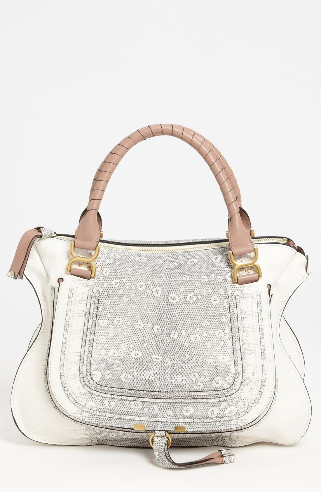 Main Image - Chloé 'Marcie - Large' Lizard Print Leather Shoulder Bag