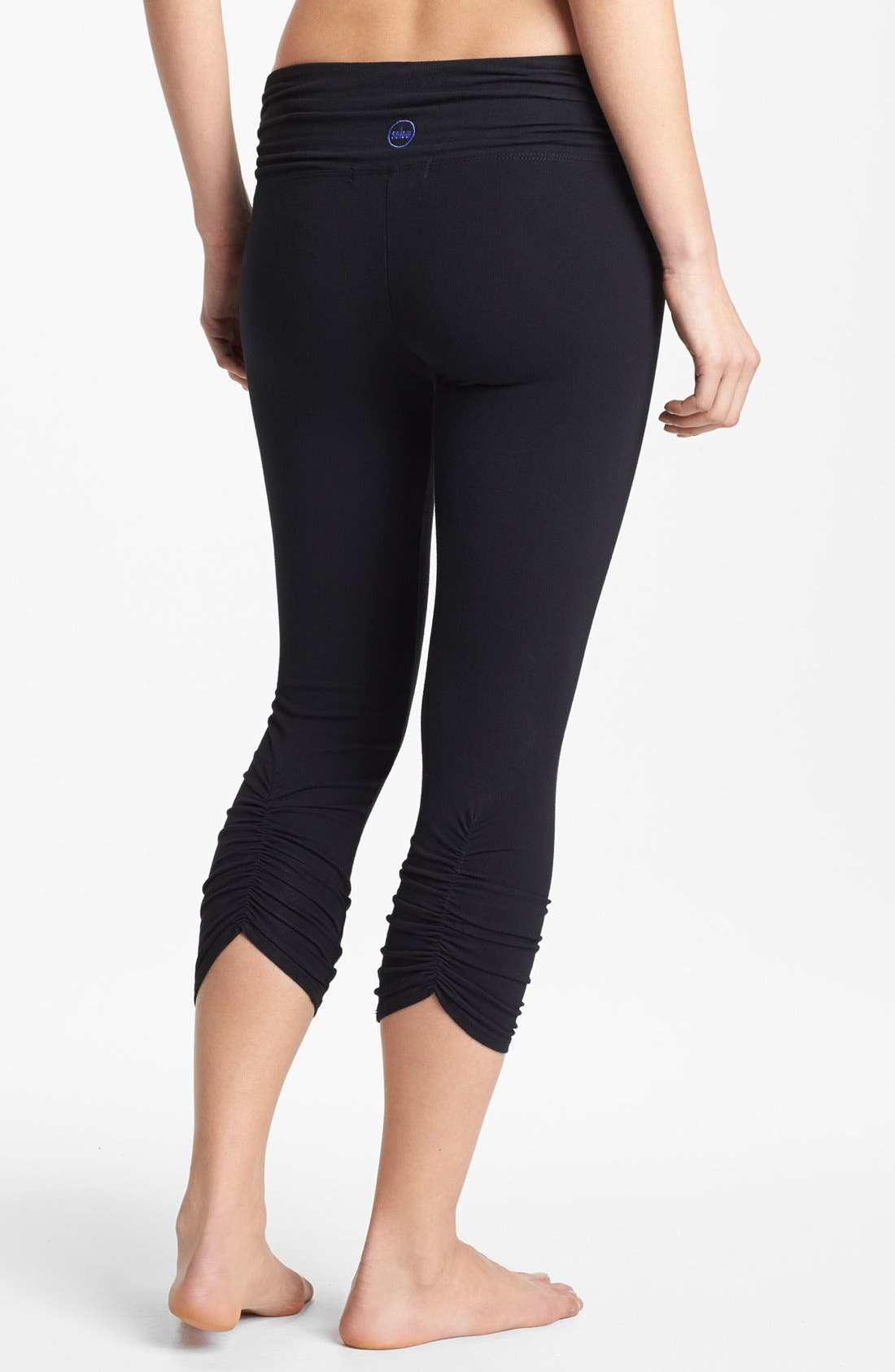Main Image - Solow Shirred Crop Leggings with Contrast Waistband