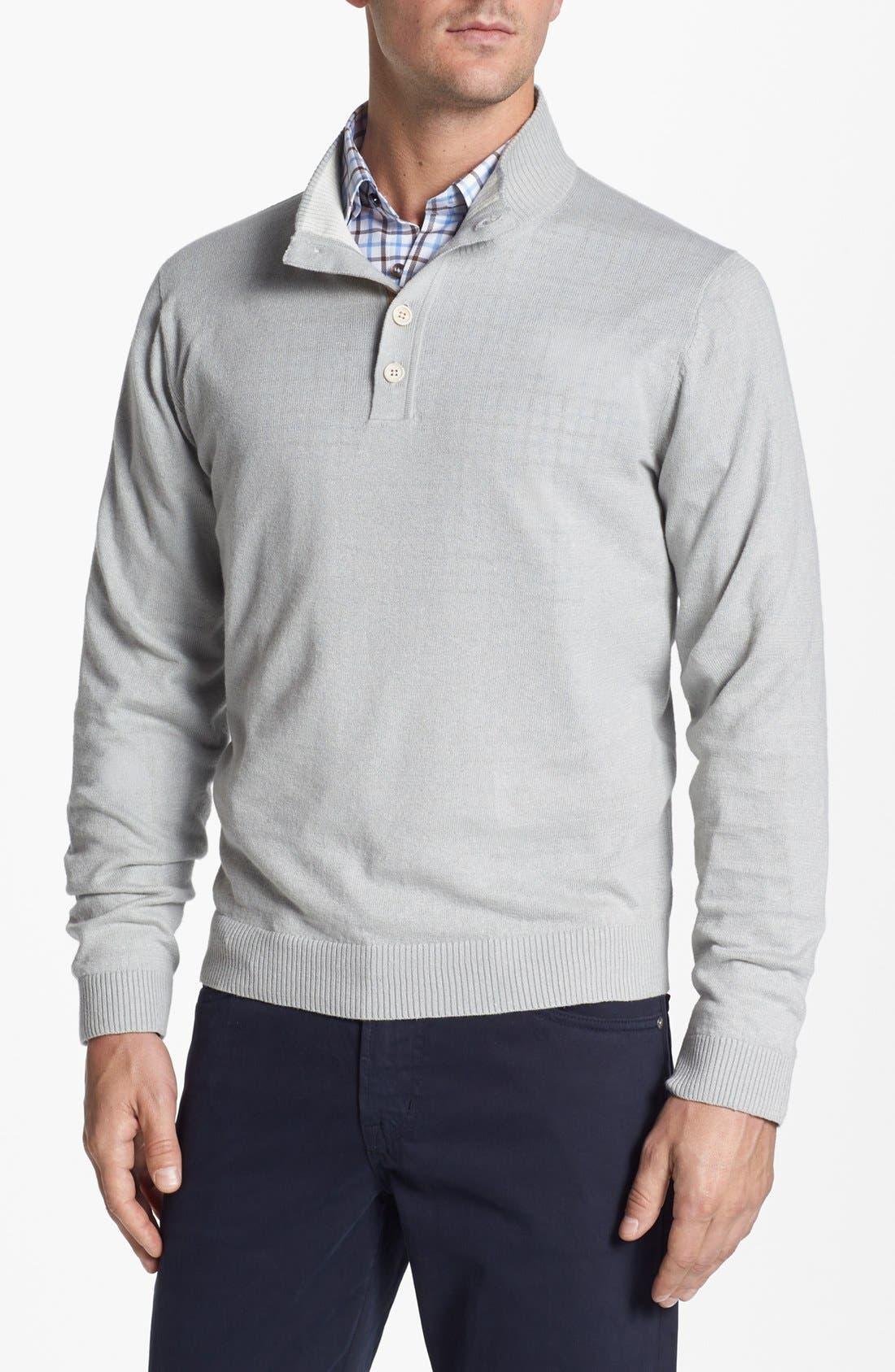 Main Image - Robert Talbott Mock Neck Linen Blend Sweater