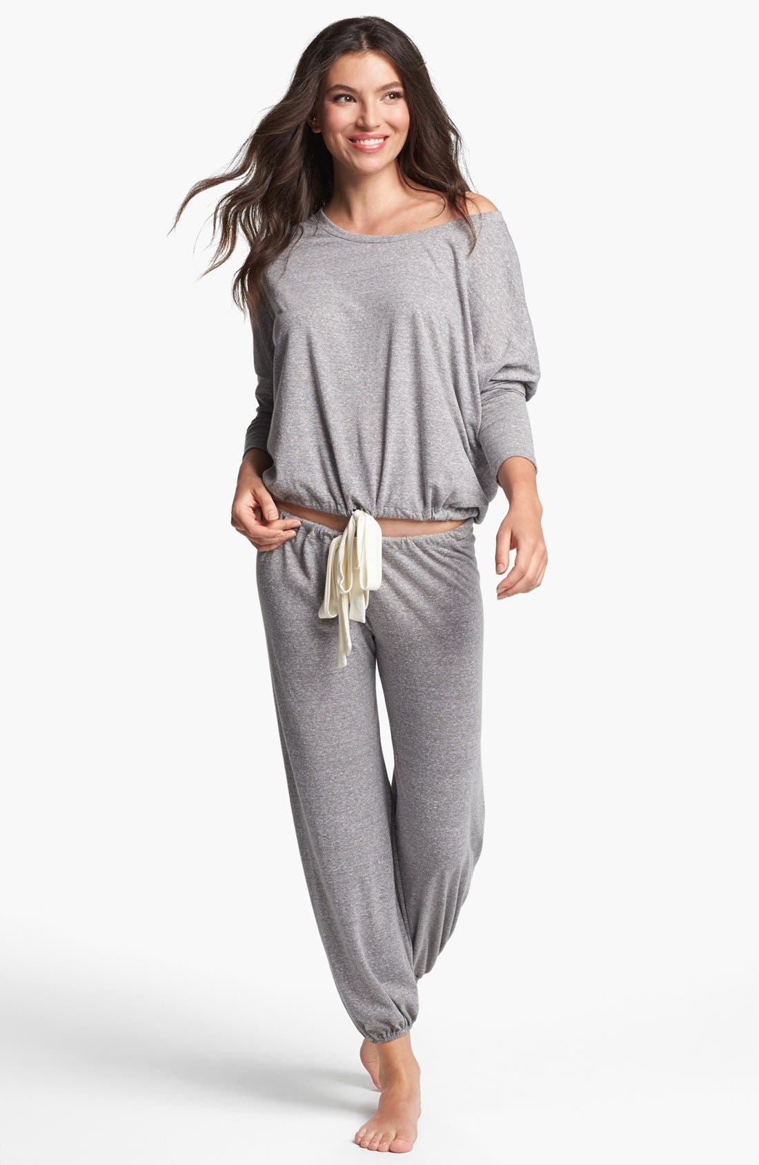Heather Knit Slouchy Tee,                             Alternate thumbnail 4, color,                             Grey Heather