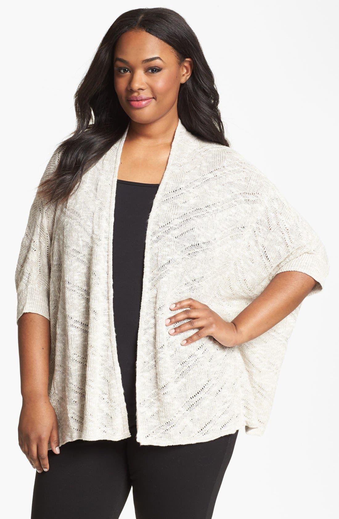 Main Image - Eileen Fisher Dolman Sleeve Cardigan (Plus Size)