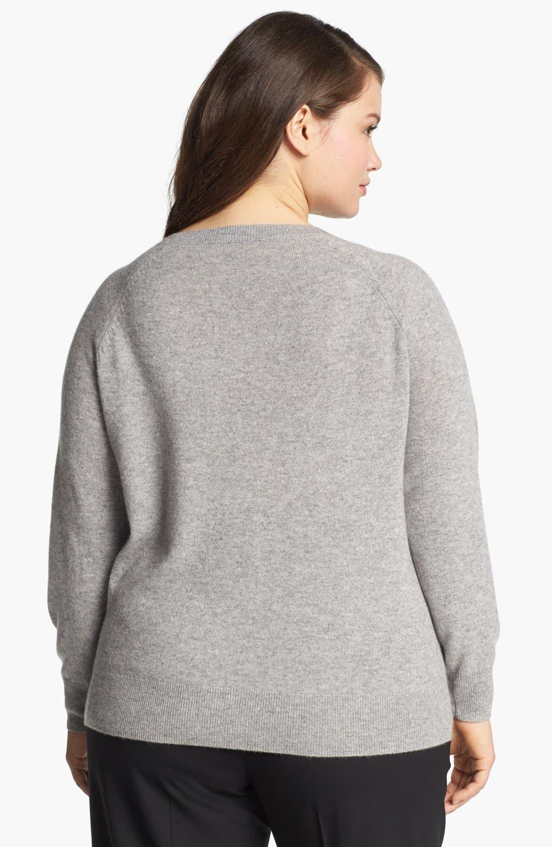 Alternate Image 2  - Halogen® Embellished Cashmere Sweater (Plus Size)