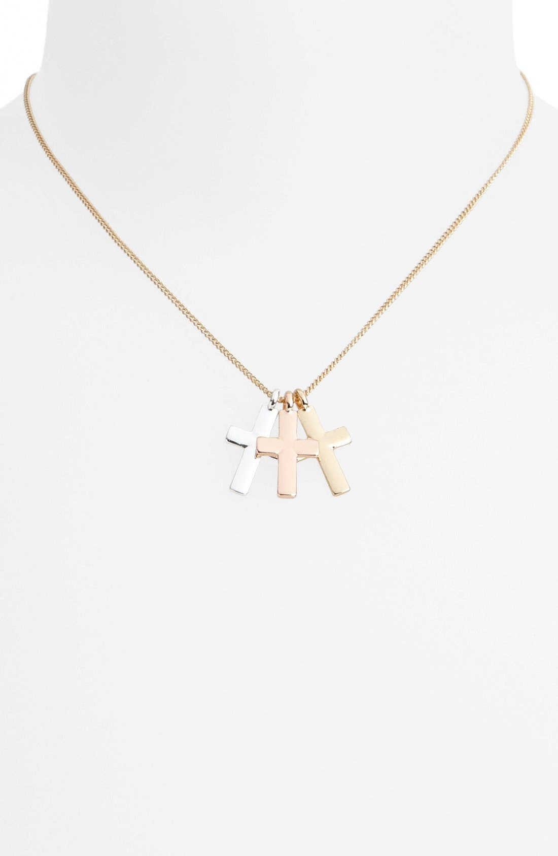 Main Image - Topshop 'Cluster Cross' Necklace