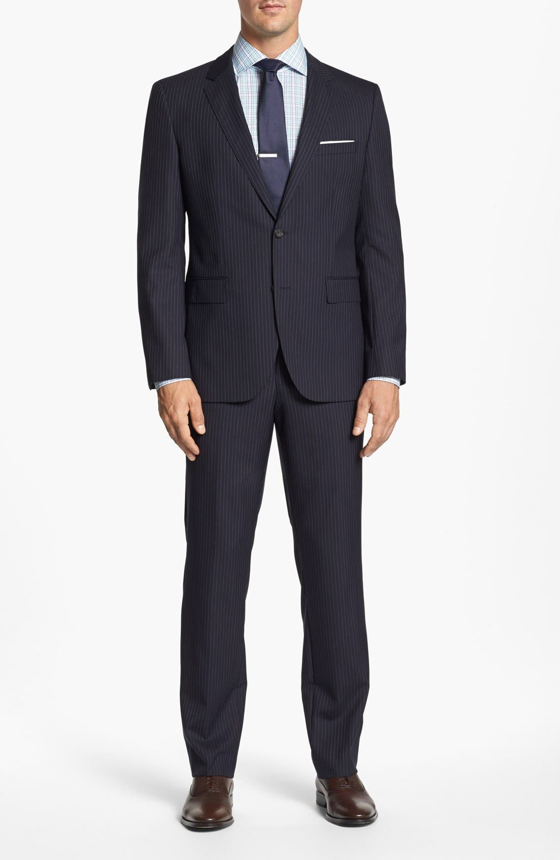 Alternate Image 1 Selected - BOSS Black 'James/Sharp' Trim Fit Stripe Wool Suit
