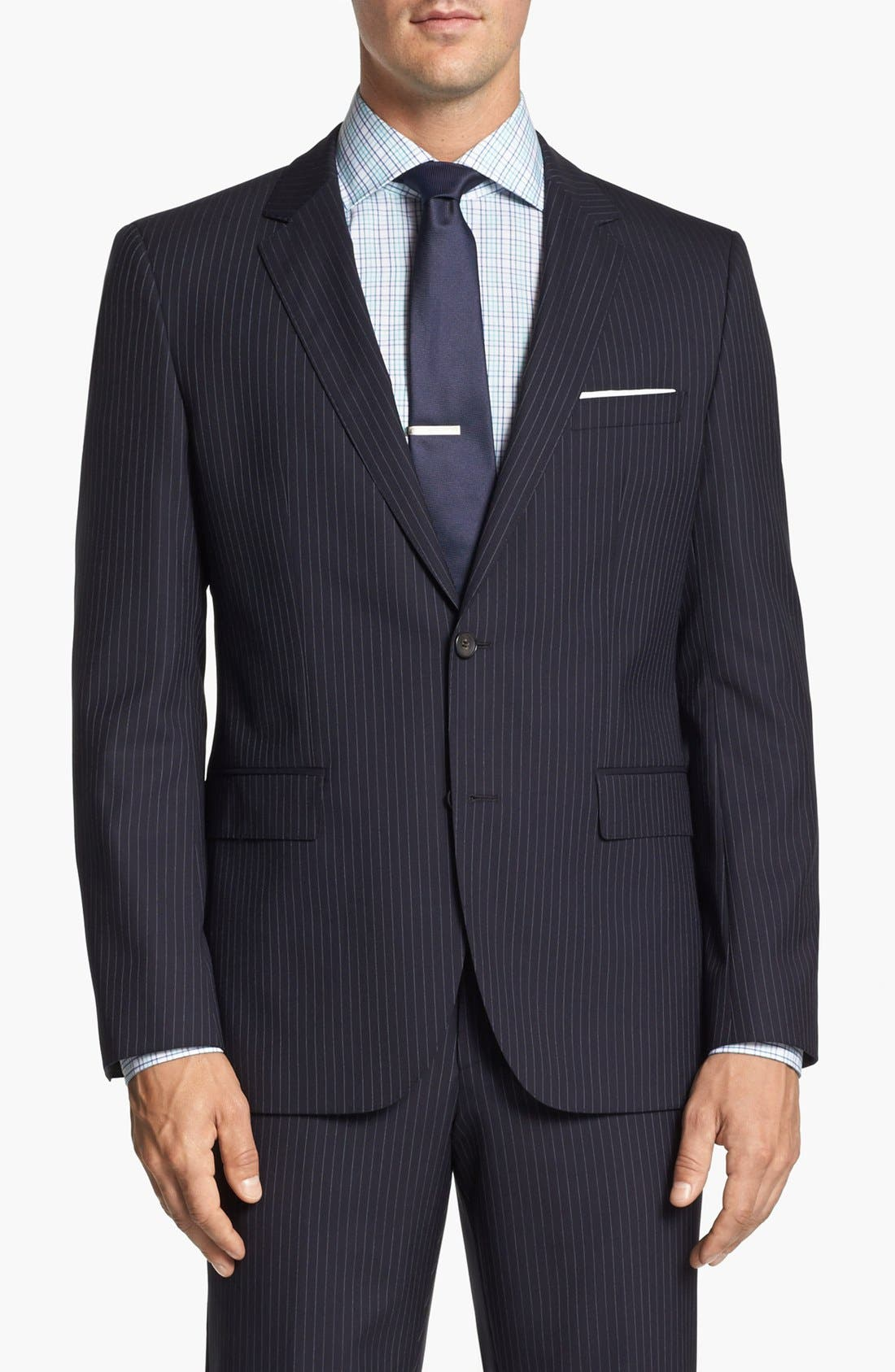 Alternate Image 4  - BOSS Black 'James/Sharp' Trim Fit Stripe Wool Suit
