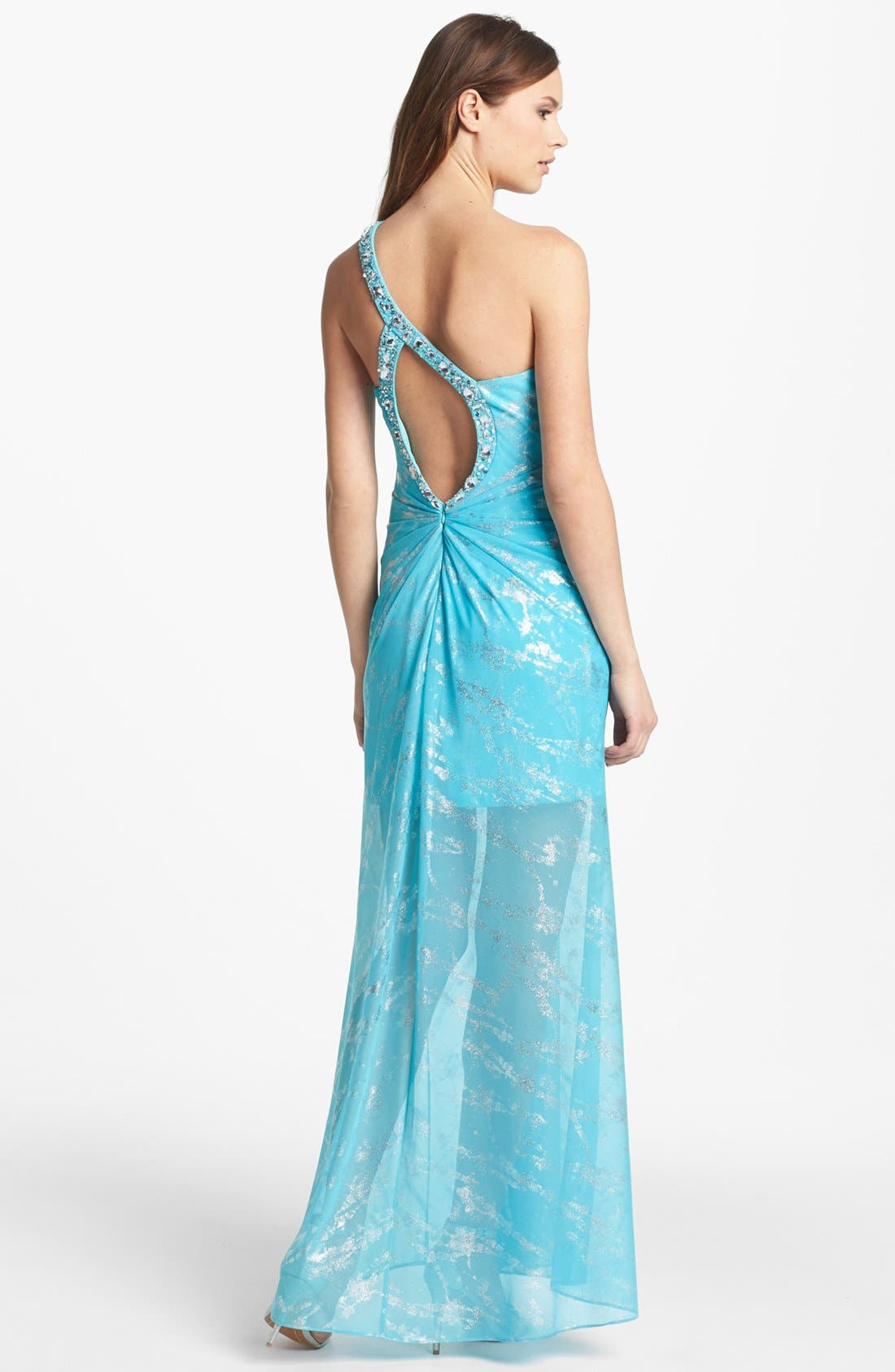 Alternate Image 2  - Hailey by Adrianna Embellished One Shoulder Foiled Chiffon Gown