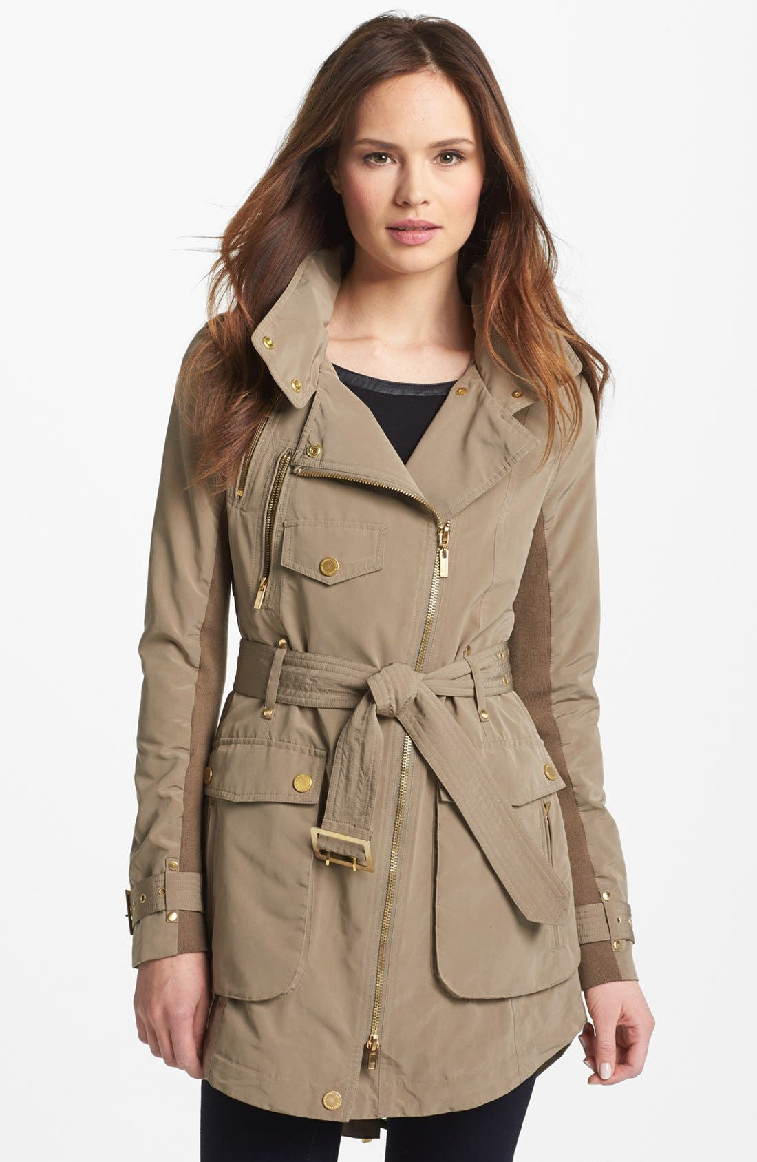 Alternate Image 1 Selected - BCBGMAXAZRIA Asymmetrical Zip Belted Anorak
