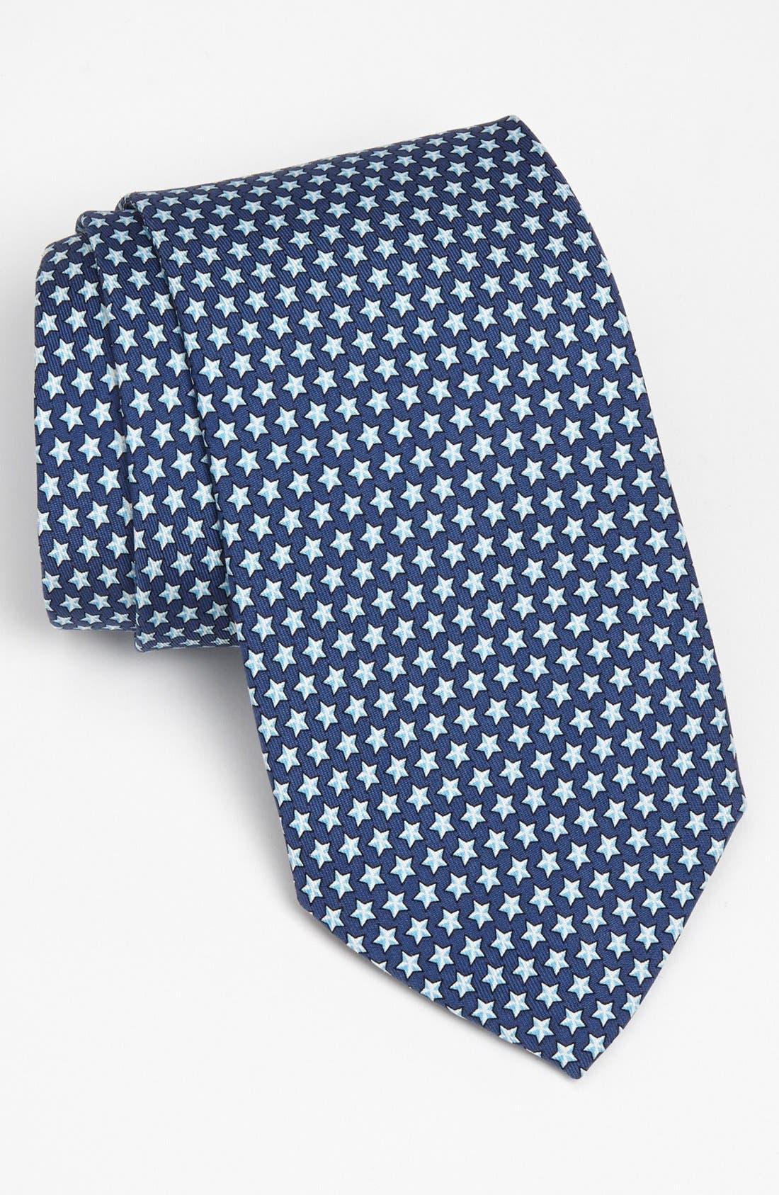 Stars Silk Tie,                         Main,                         color, Navy