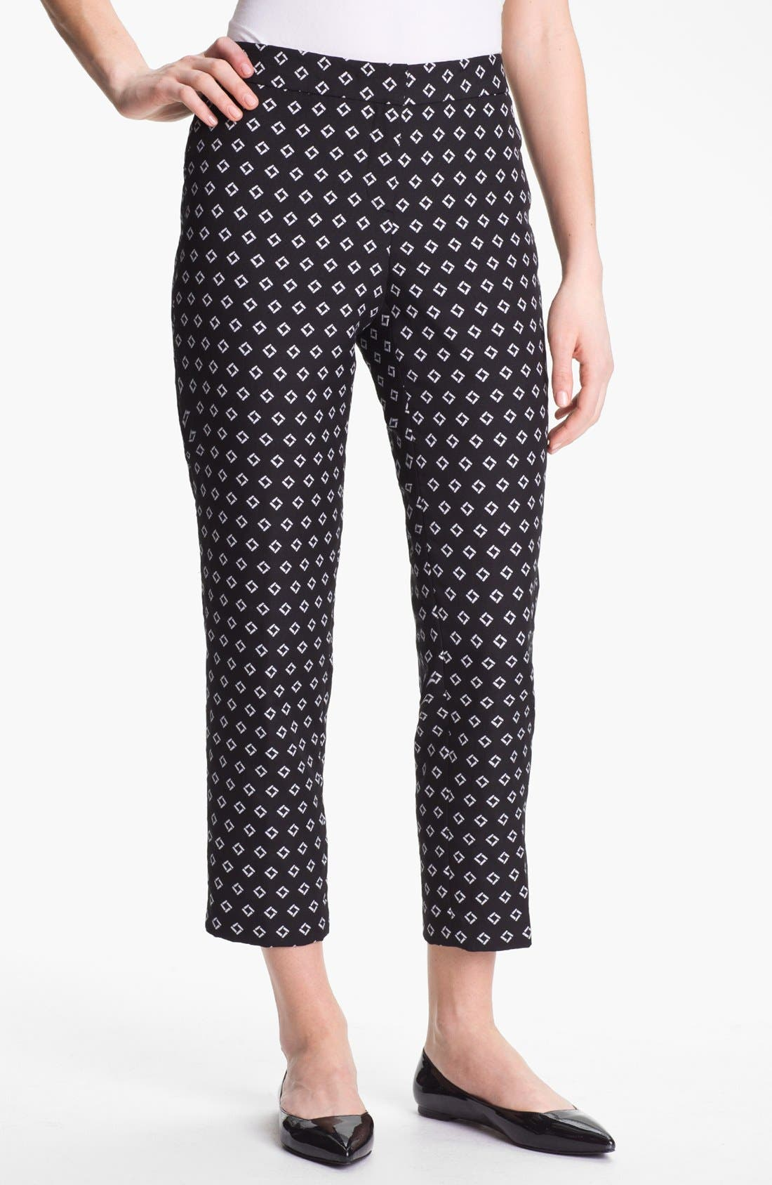 Alternate Image 1 Selected - Vince Camuto Diamond Jacquard Skinny Ankle Pants (Petite)