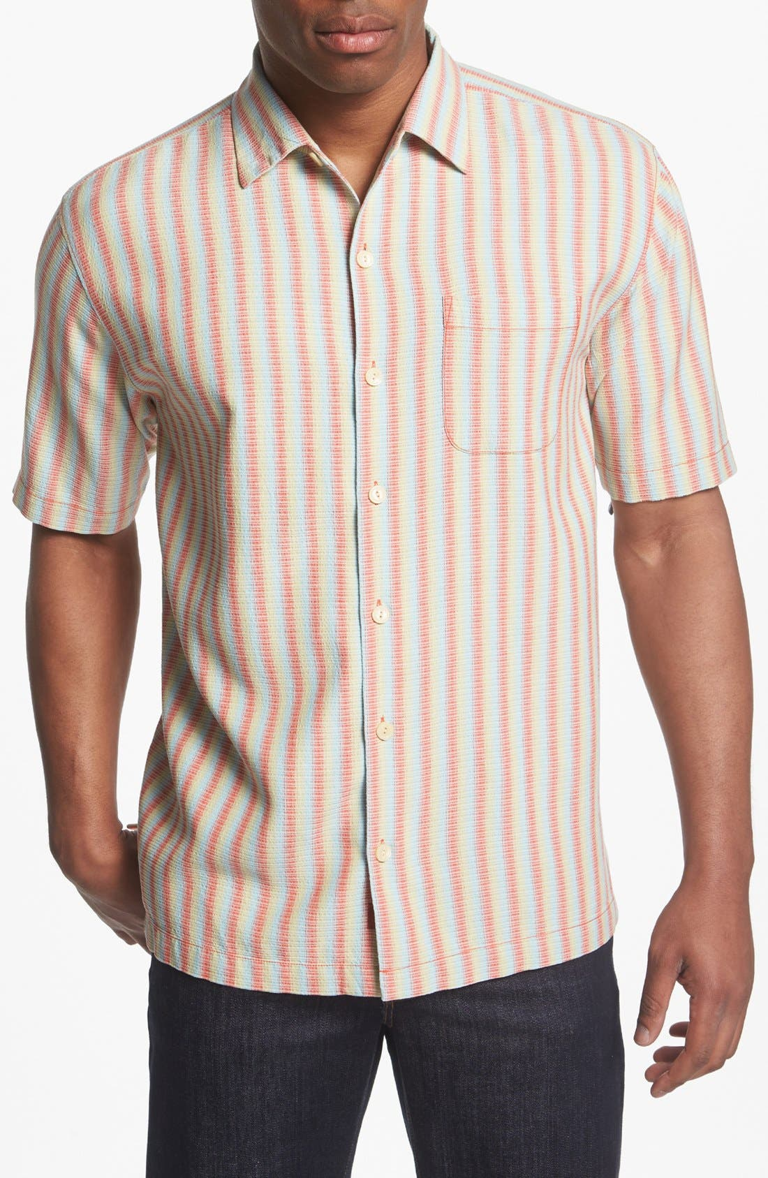 Alternate Image 1 Selected - Tommy Bahama 'Dancing with the Stripes' Silk Campshirt
