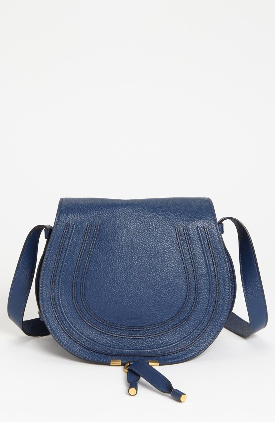'Marcie - Medium' Leather Crossbody Bag,                             Main thumbnail 1, color,                             Royal Navy