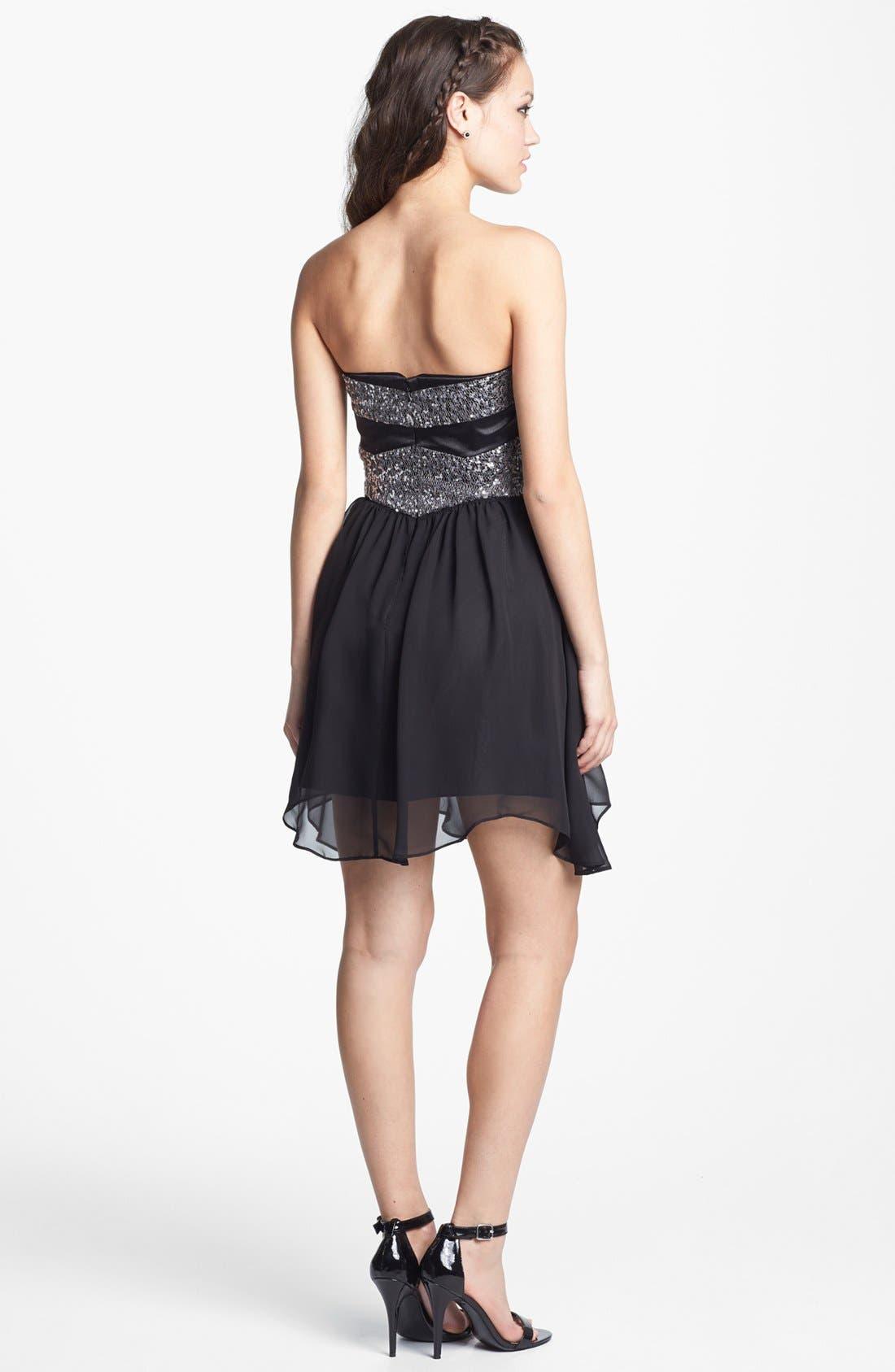 Alternate Image 2  - Hailey Logan Embellished Fit & Flare Dress (Juniors) (Online Only)