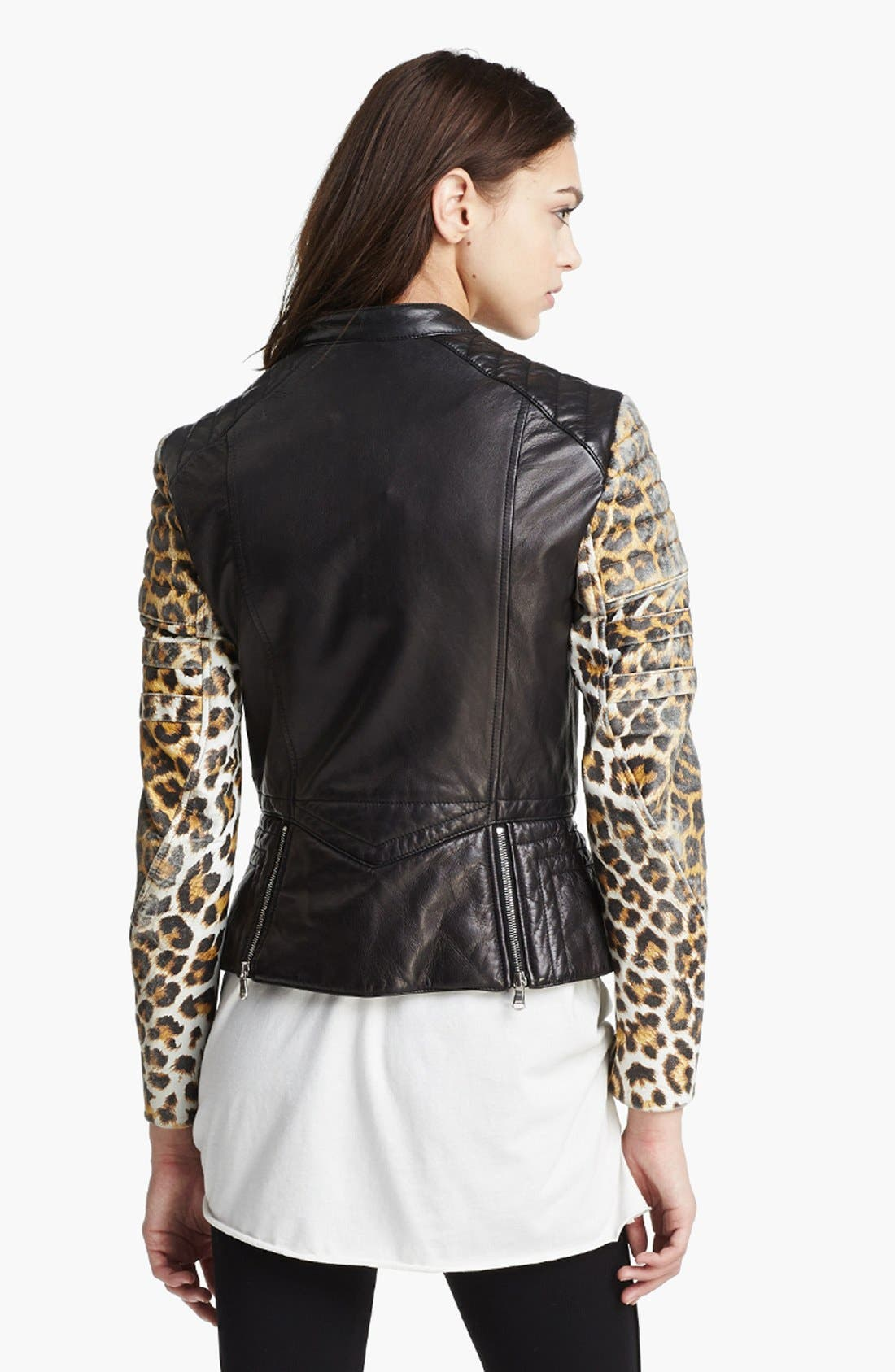 Alternate Image 4  - 3.1 Phillip Lim Quilted Sleeve Leather Moto Jacket