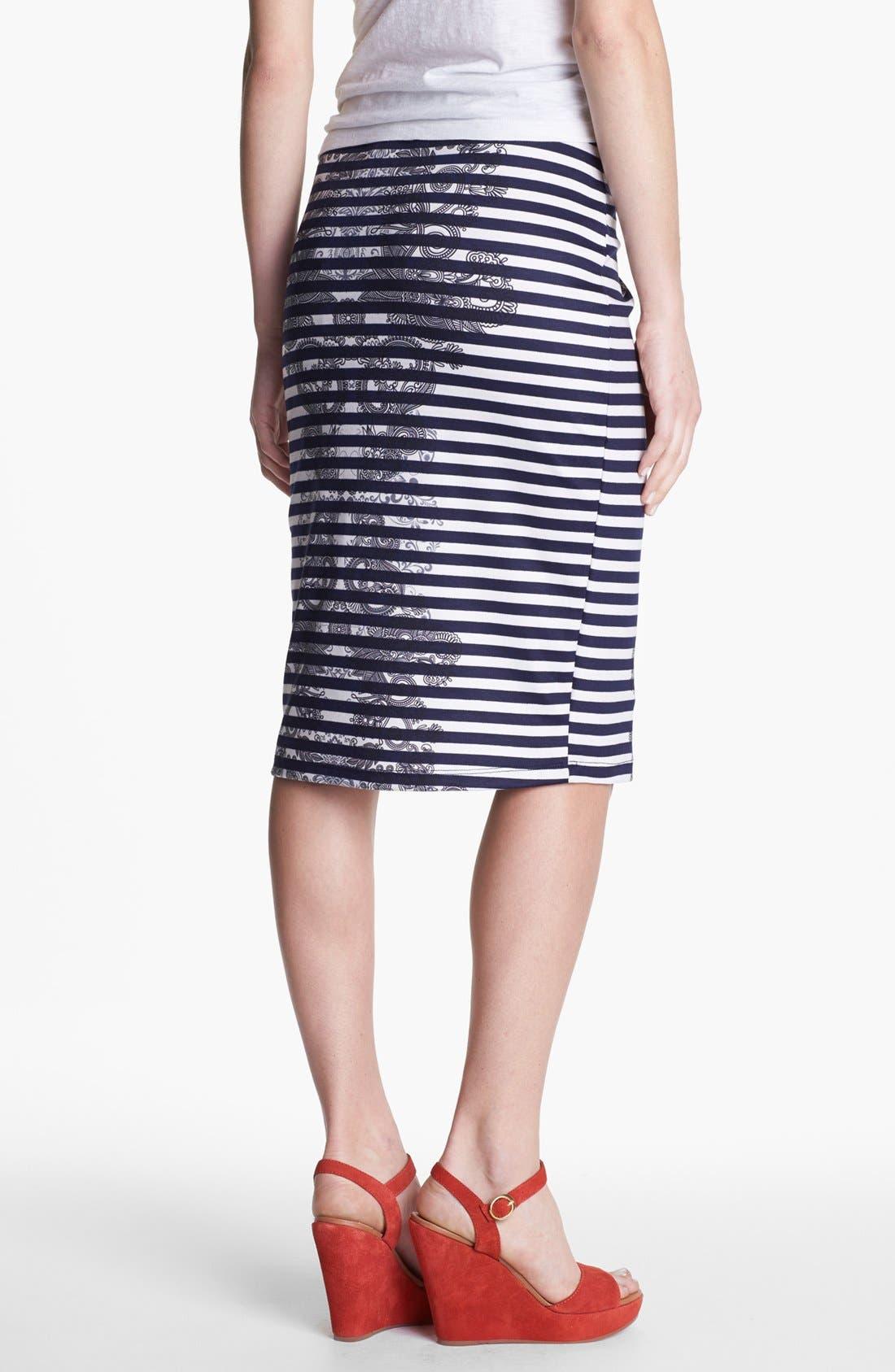 Alternate Image 2  - Bobeau Print Ponte Knit Pencil Skirt