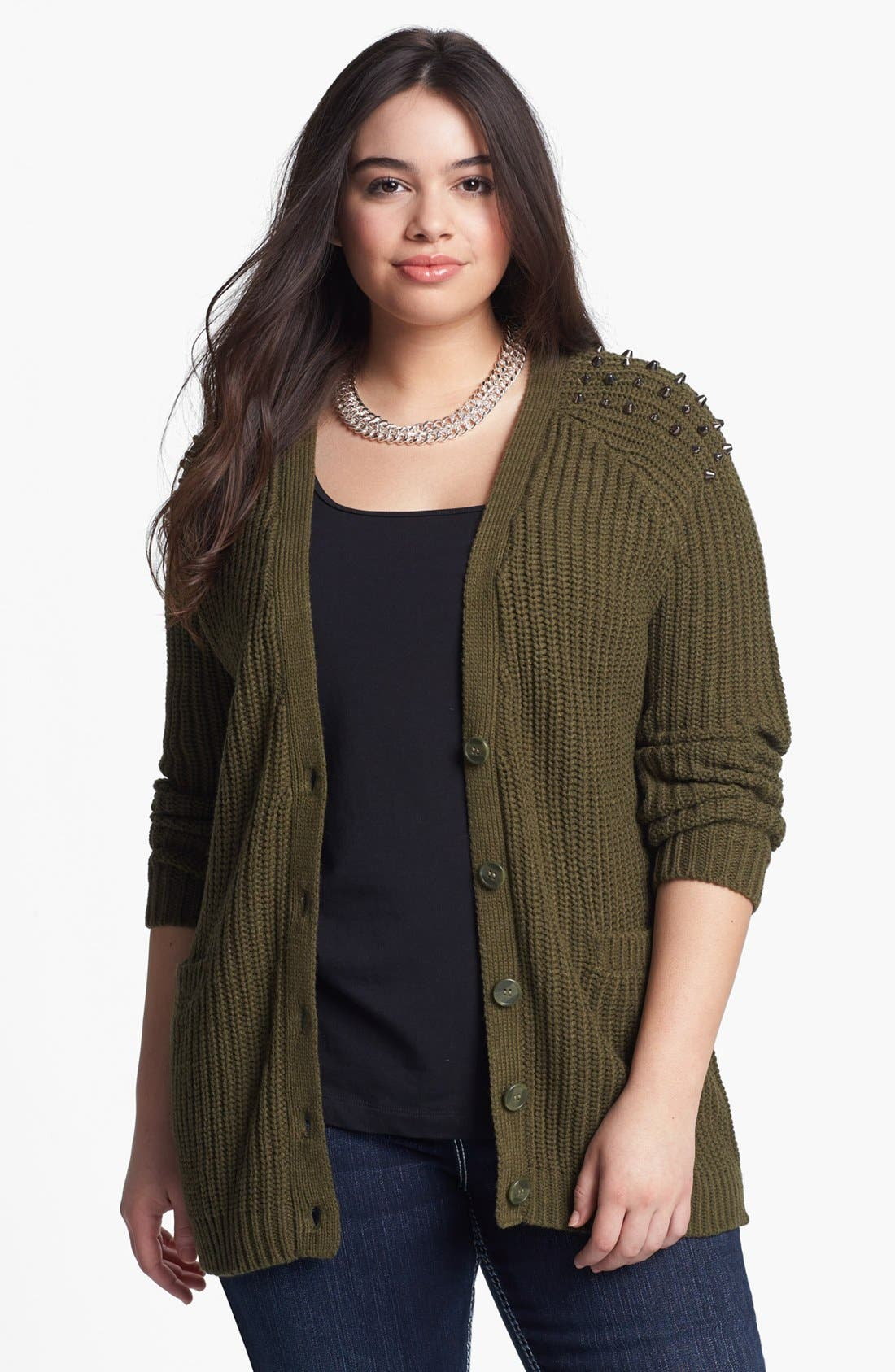 Alternate Image 1 Selected - Love By Design Studded Long Cardigan (Juniors Plus)