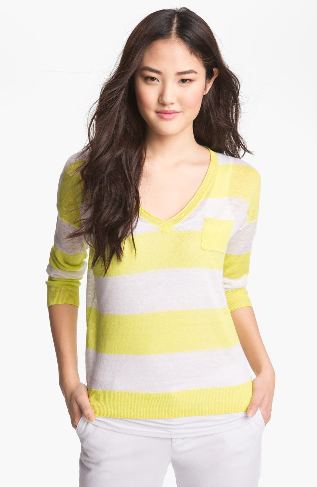 Main Image - Caslon® Stripe V-Neck Sweater (Petite)