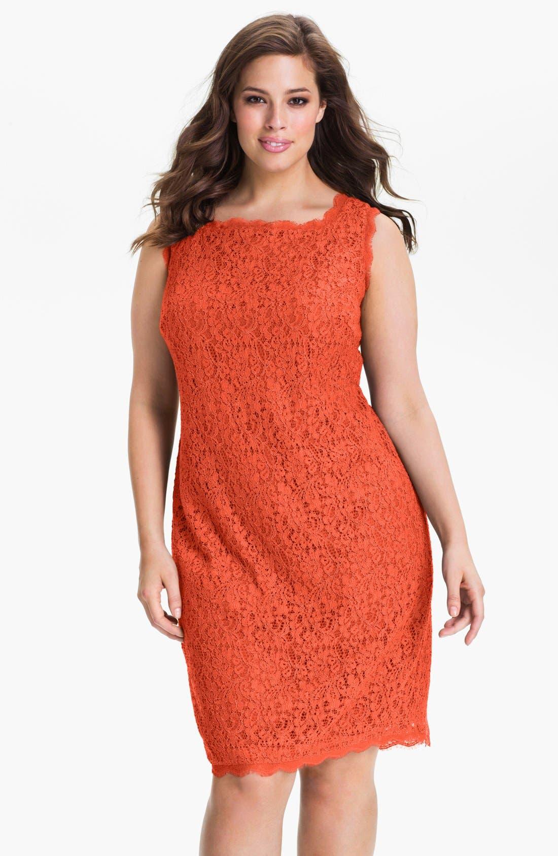 Main Image - Adrianna Papell Sleeveless Lace Sheath Dress (Plus Size)