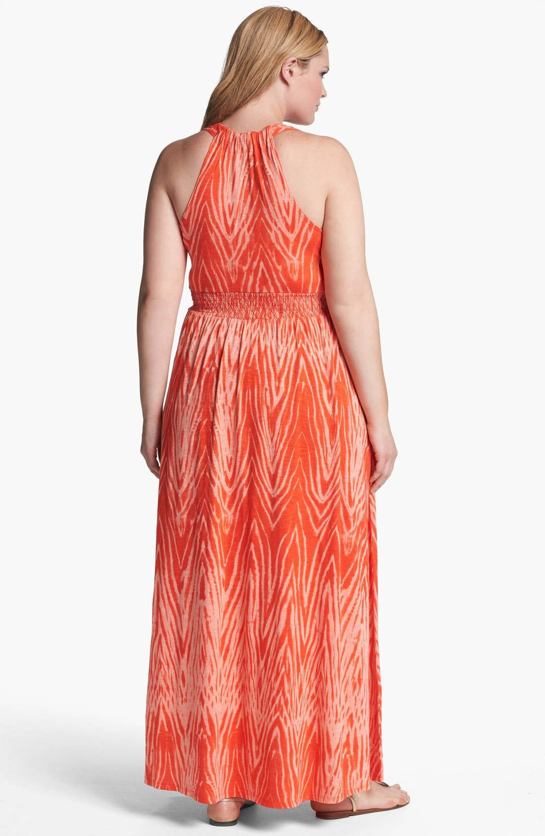 Alternate Image 2  - Lucky Brand 'Watercolor Zebra' Print Maxi Dress (Plus Size)