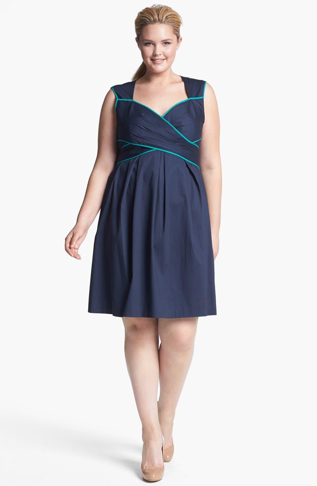 Main Image - Jessica Simpson Piped Cotton Sheath Dress (Plus Size)