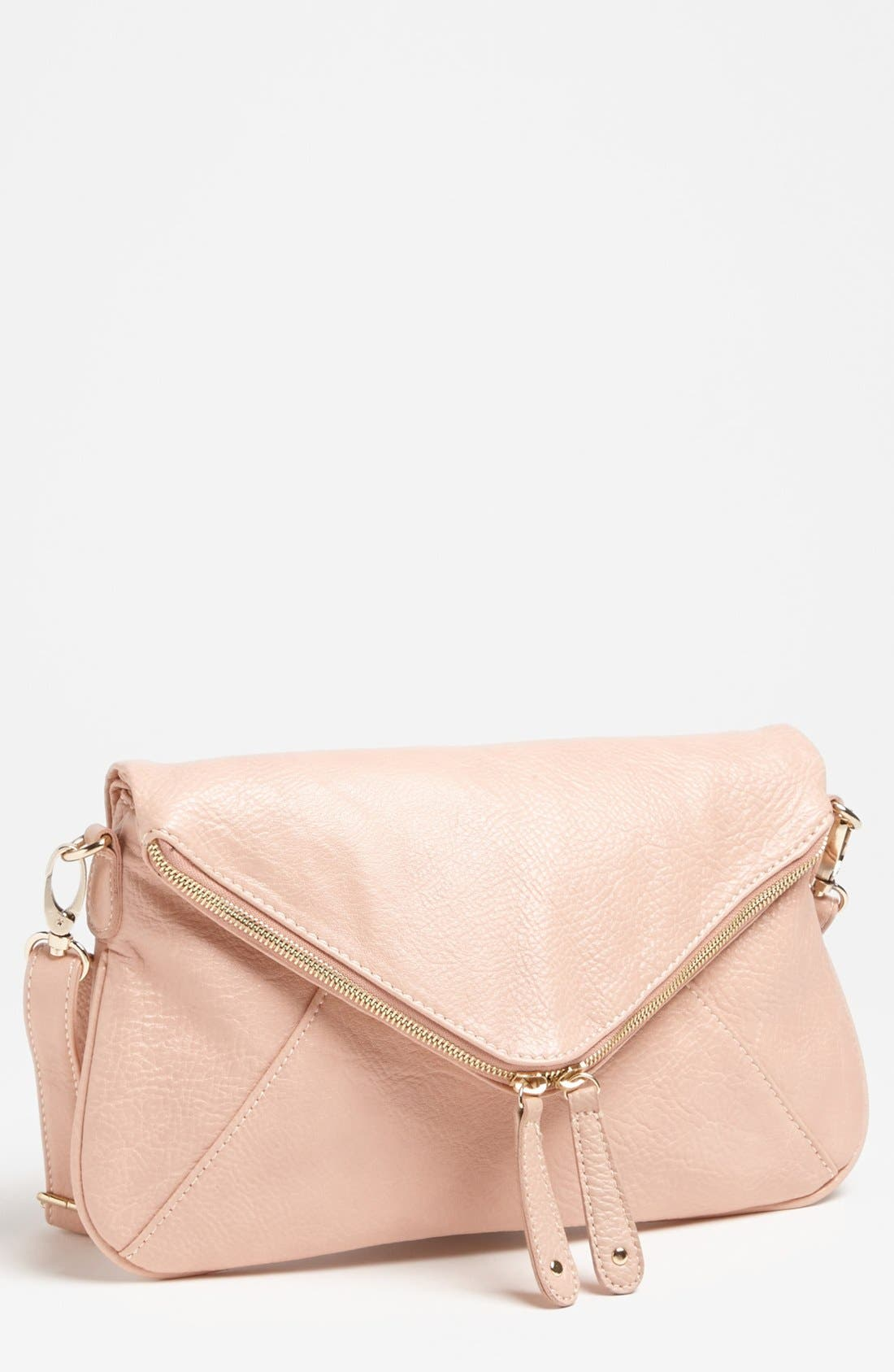 Main Image - Street Level Double Zip Faux Leather Crossbody Bag
