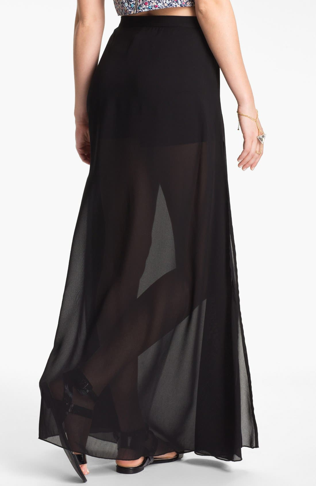 Alternate Image 2  - Mimi Chica Sheer Chiffon Maxi Skirt (Juniors)
