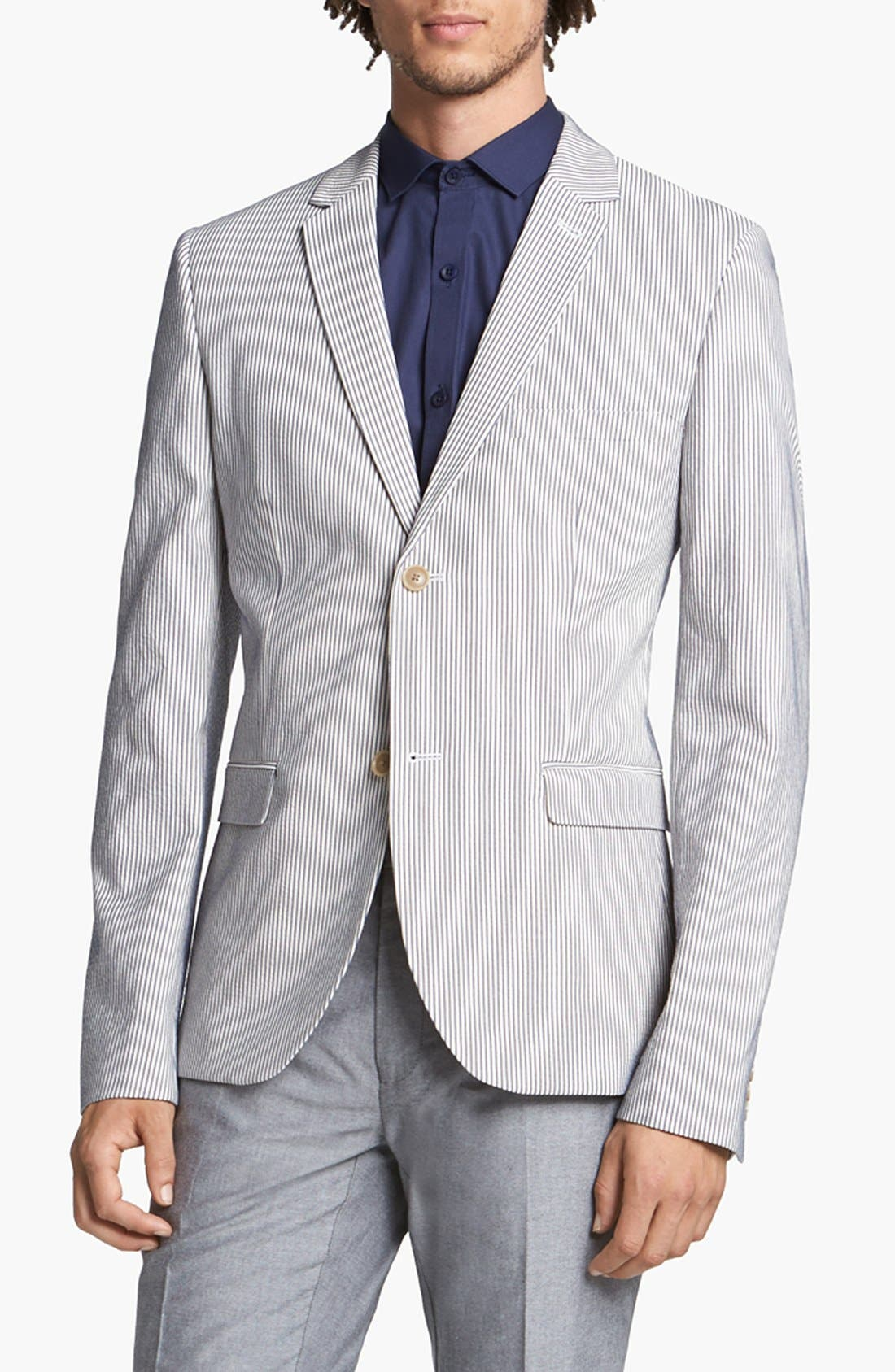 Alternate Image 1 Selected - Topman Skinny Seersucker Blazer