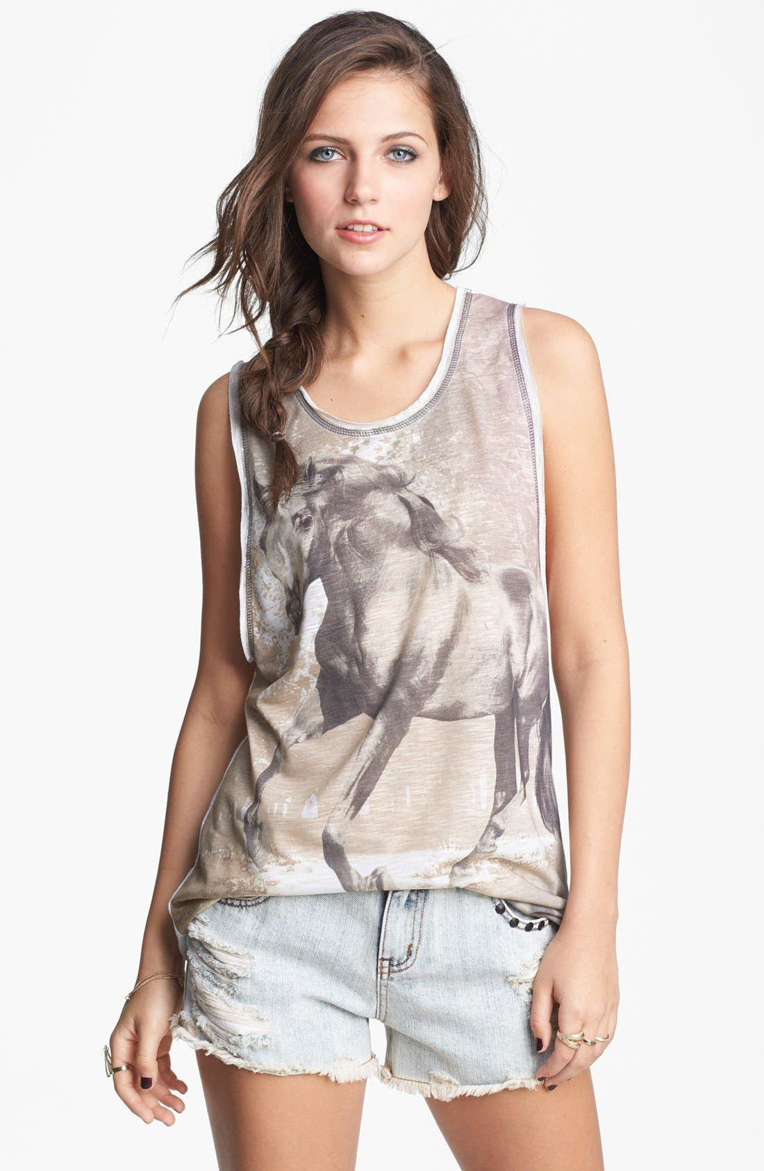 Alternate Image 1 Selected - Mary Jane 'Horse' Graphic Tank (Juniors) (Online Only)