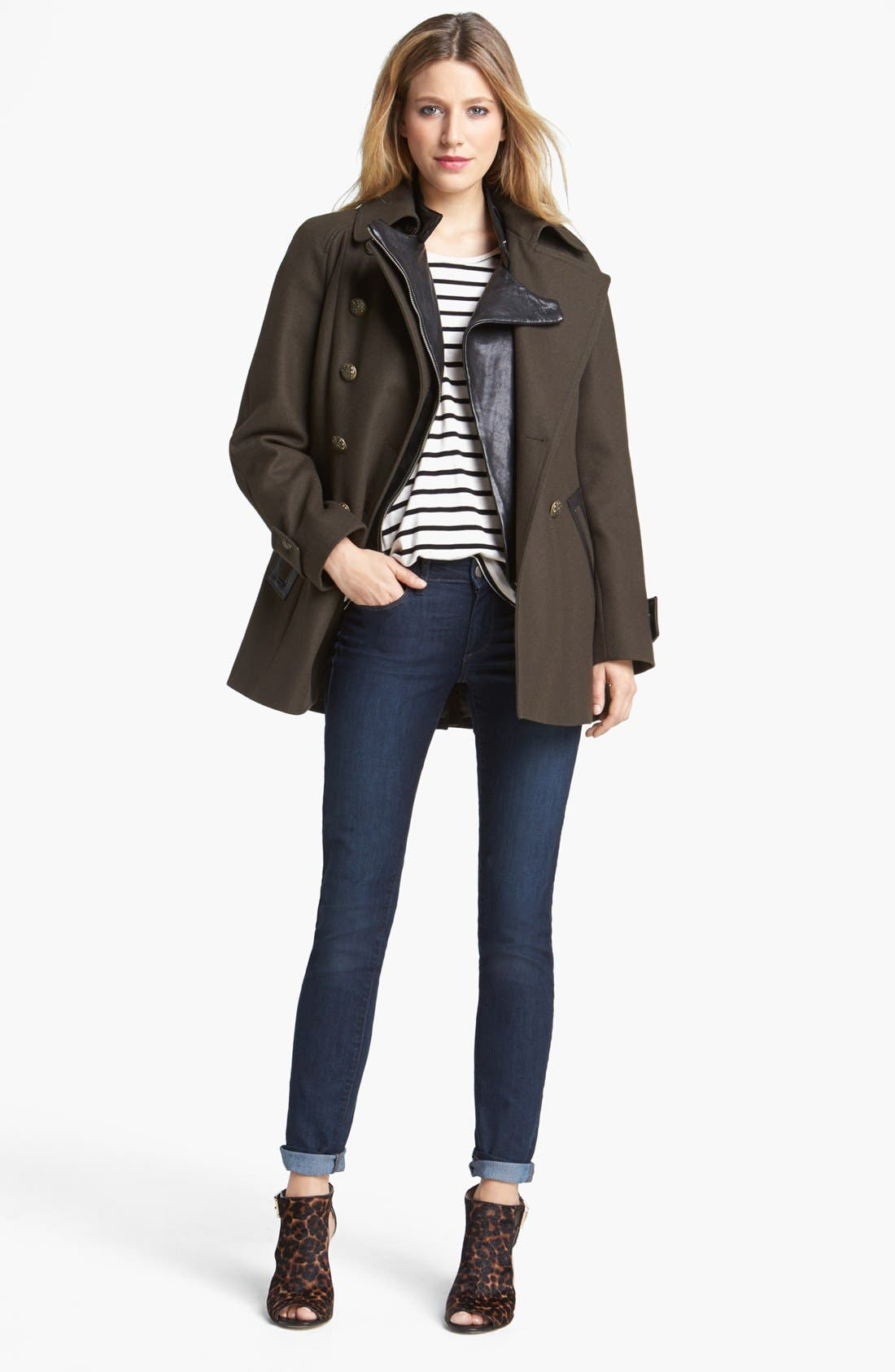 Alternate Image 1 Selected - DKNY Double Breasted Military Peacoat