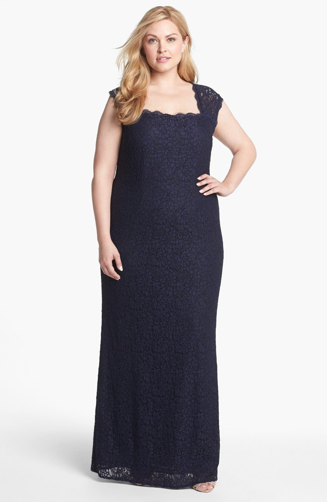 Main Image - Adrianna Papell Back Cutout Lace Column Gown (Plus Size)