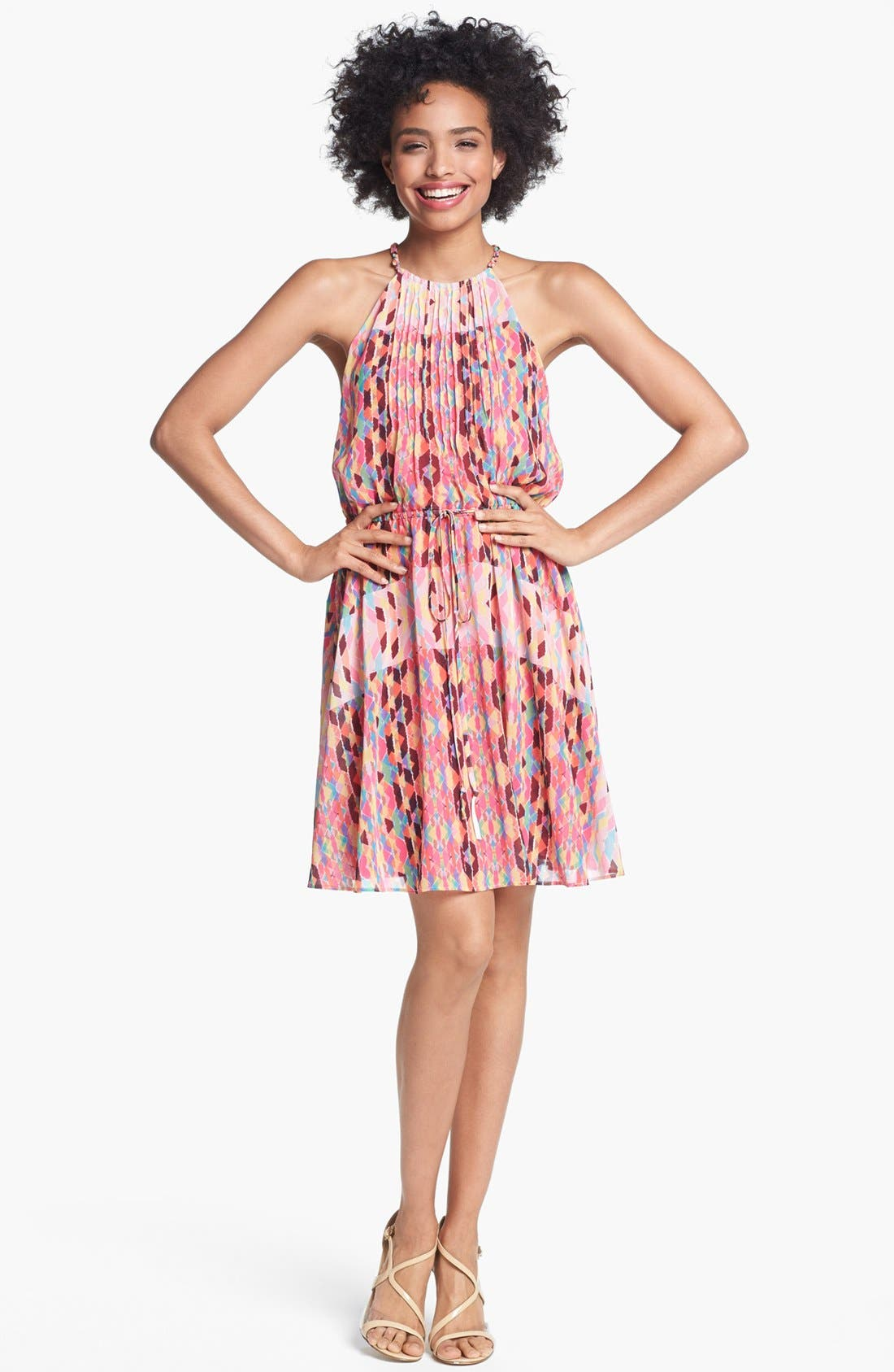 Alternate Image 1 Selected - Jessica Simpson Print Pintucked Chiffon Dress
