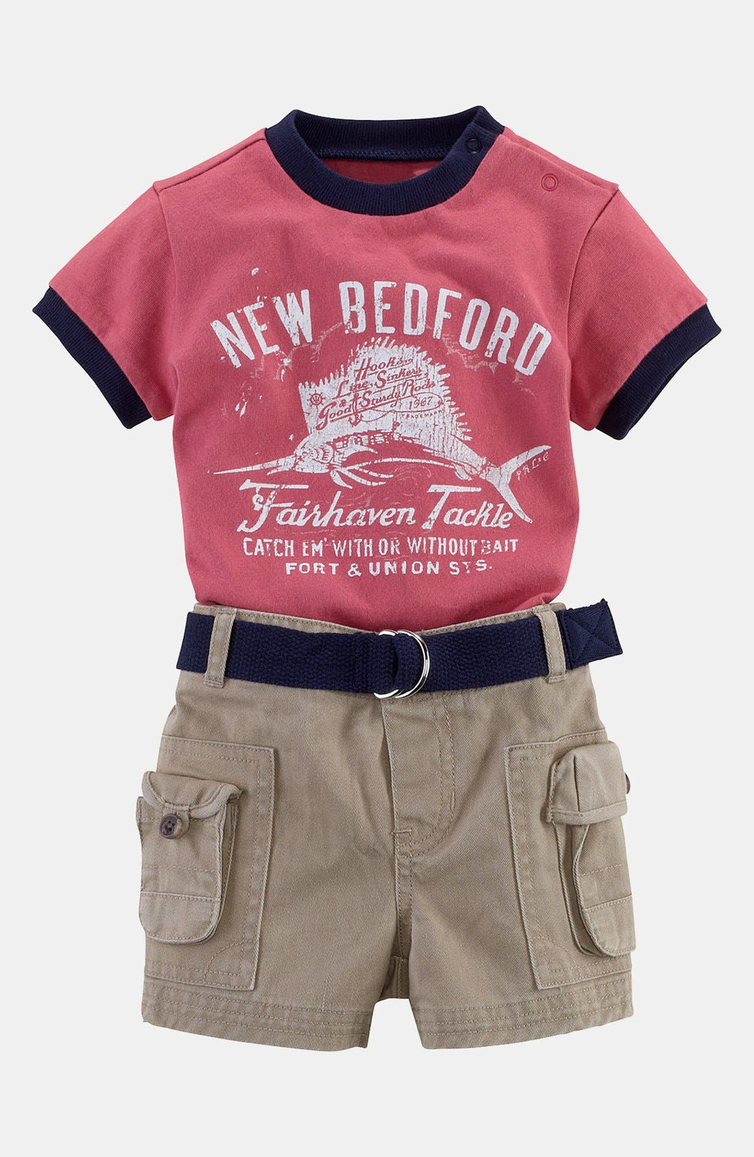 Alternate Image 2  - Ralph Lauren T-Shirt & Cargo Shorts (Baby Boys)