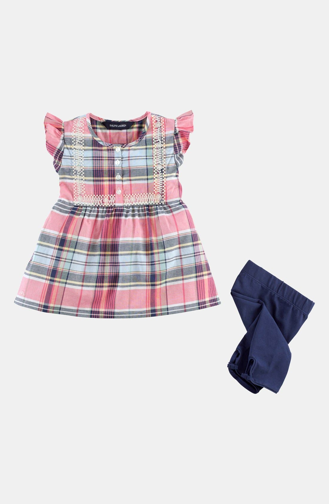 Alternate Image 2  - Ralph Lauren Shirt & Leggings (Baby Girls)