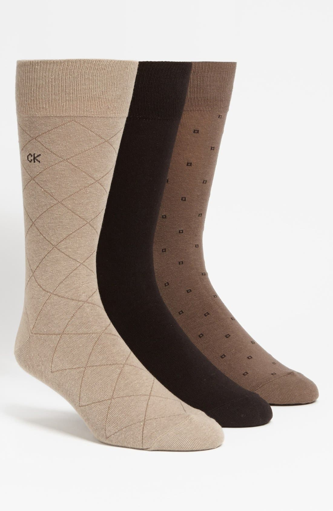 Alternate Image 1 Selected - Calvin Klein 3-Pack Patterned Socks