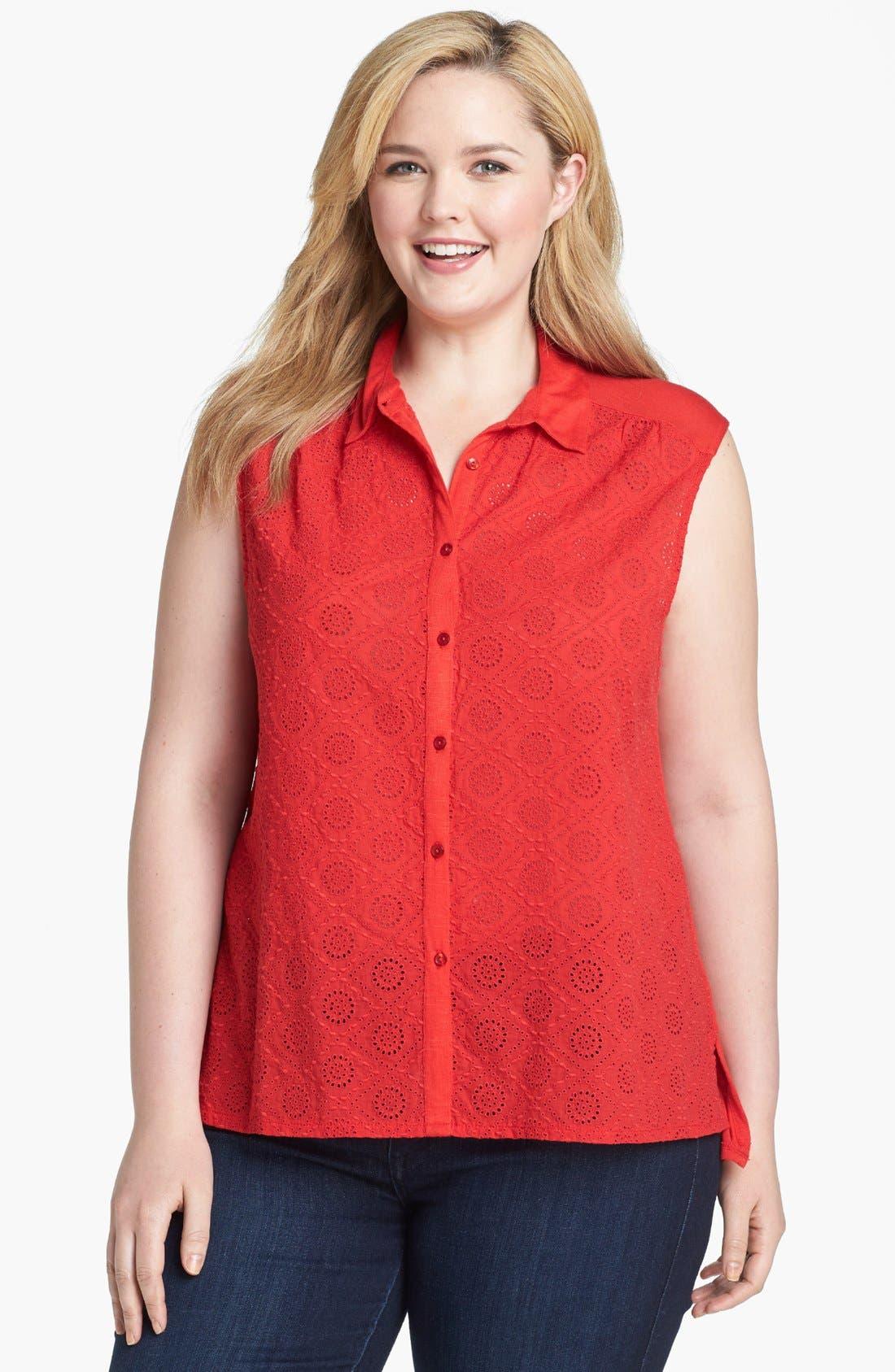 Main Image - Lucky Brand 'Vivianne' Sleeveless Eyelet Shirt (Plus Size)
