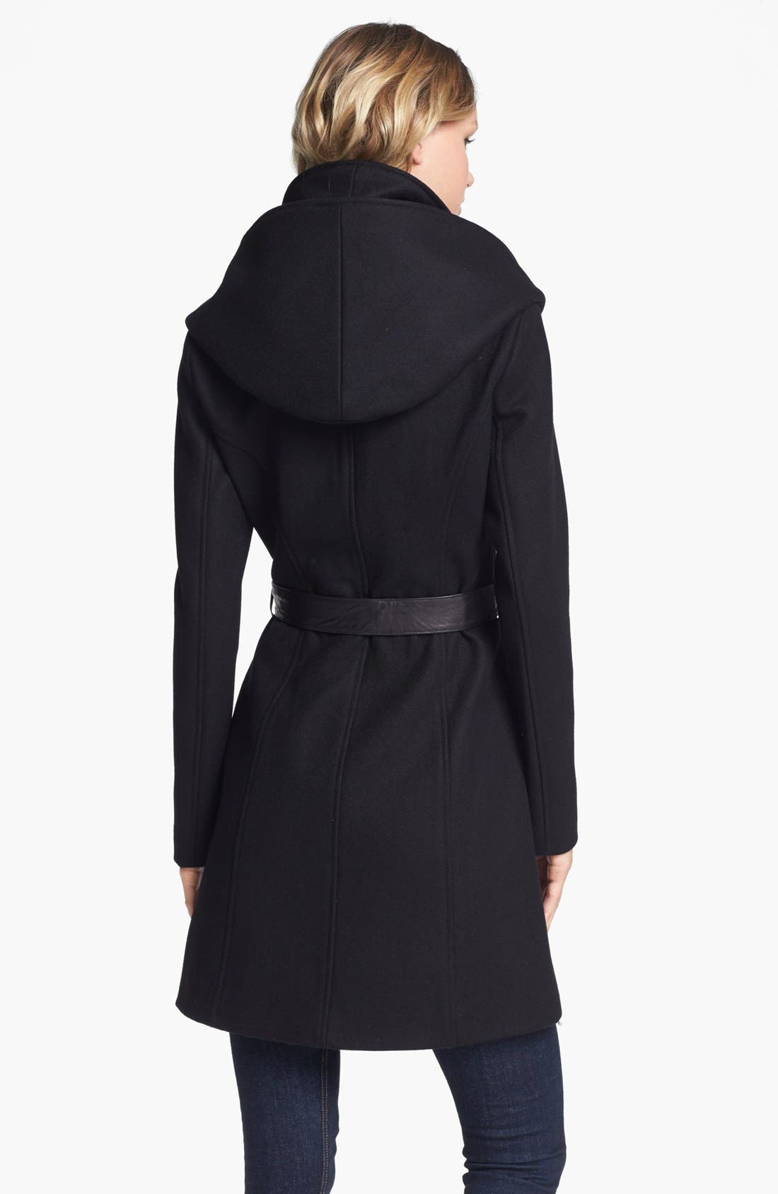 Alternate Image 2  - Soia & Kyo Hooded Wool Blend Coat with Leather Belt
