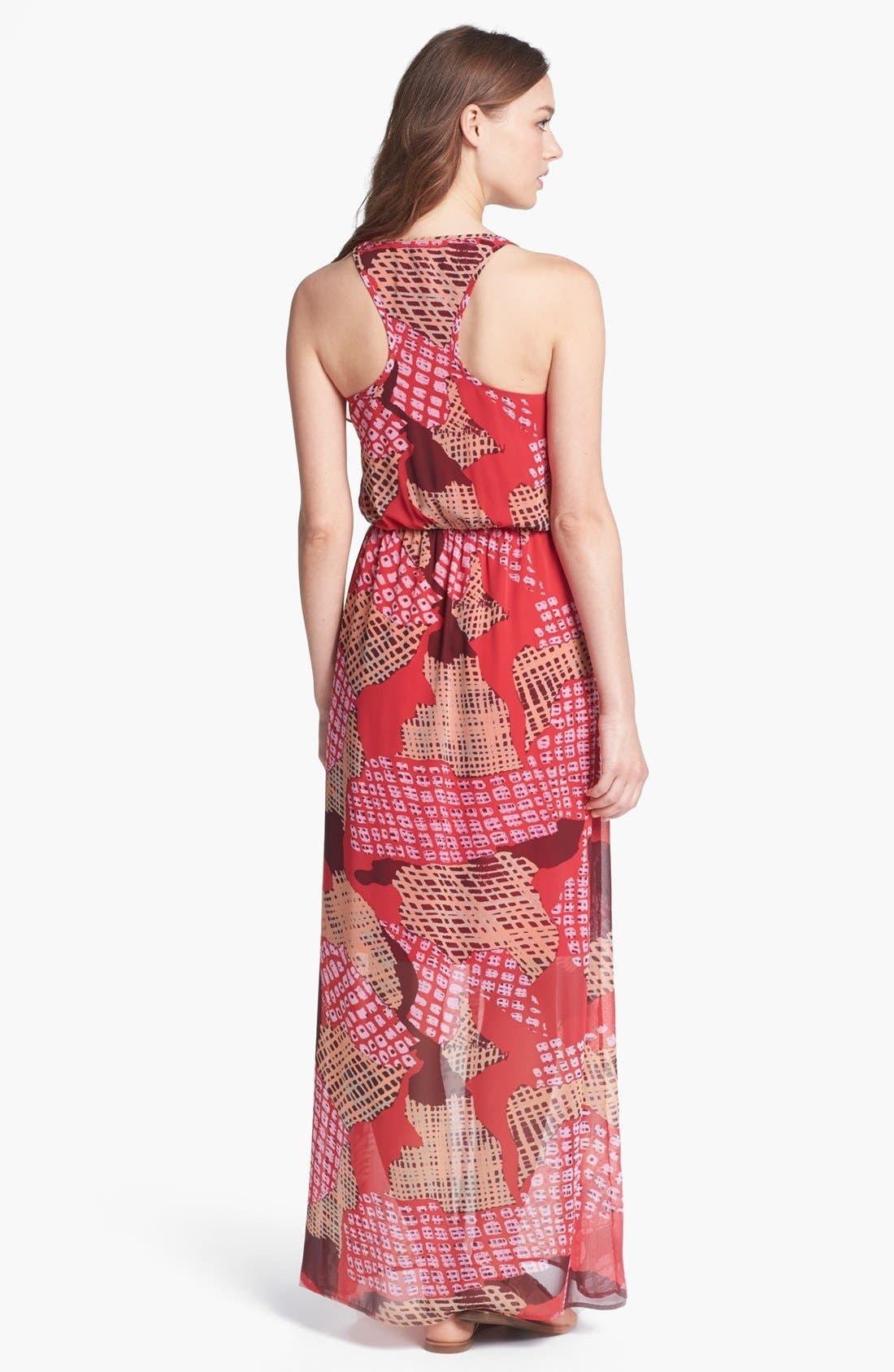 Alternate Image 2  - Collective Concepts Ruffled Print Maxi Dress