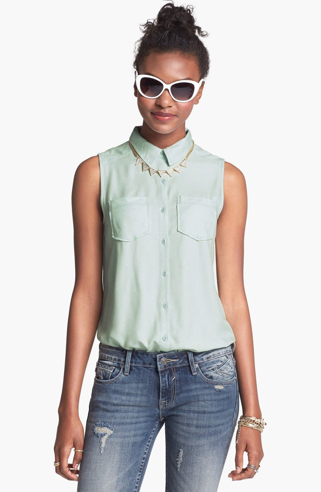 Alternate Image 1 Selected - Rubbish® Dot Collared Sleeveless Top (Juniors)