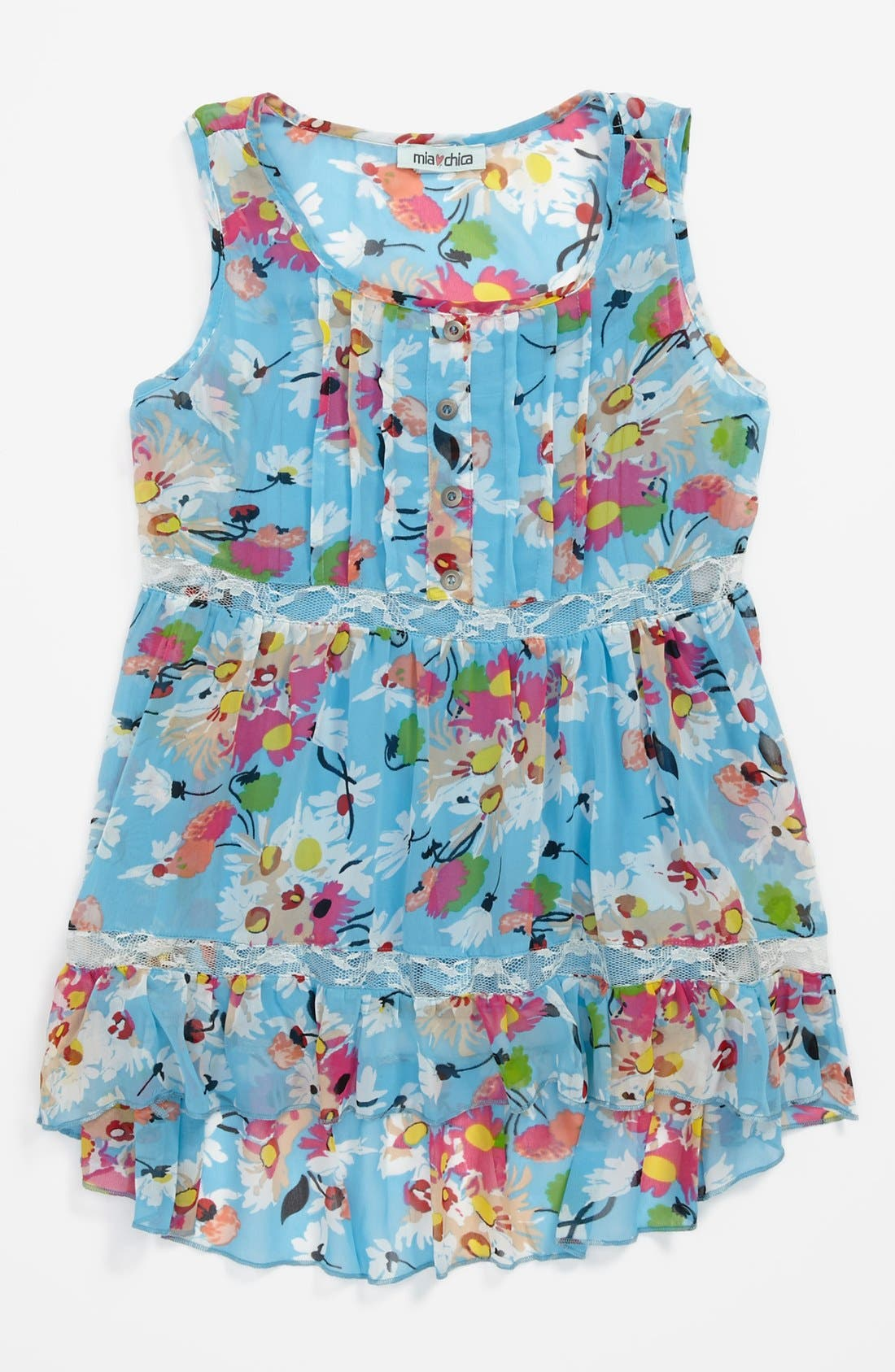 Alternate Image 1 Selected - Mia Chica Sleeveless Woven Top (Big Girls)