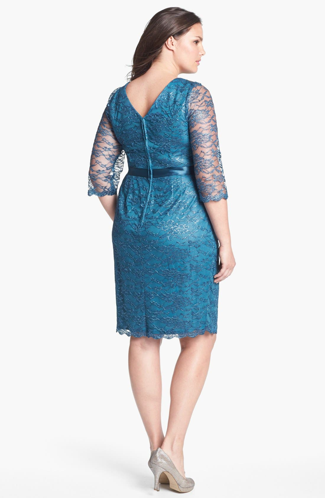 Alternate Image 2  - Alex Evenings Illusion Sleeve Lace Dress (Plus Size)