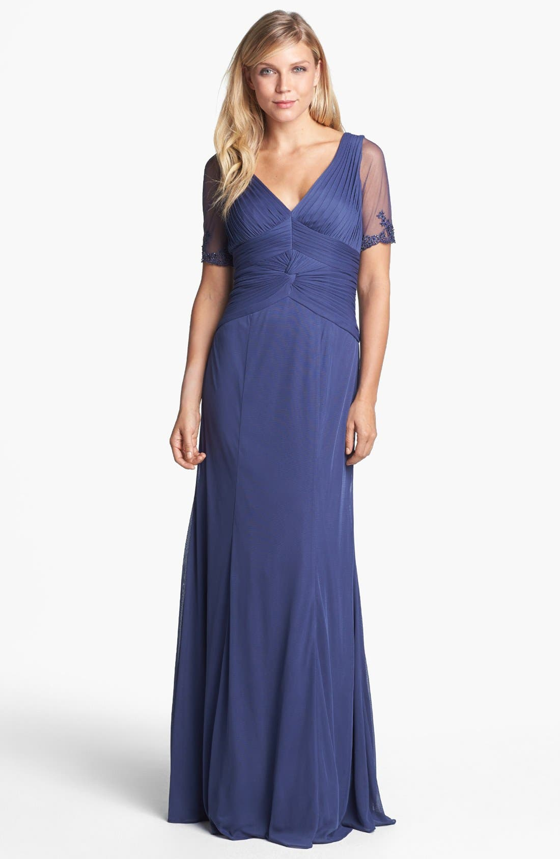 Alternate Image 1 Selected - Adrianna Papell Embellished Ruched Bodice Mesh Gown