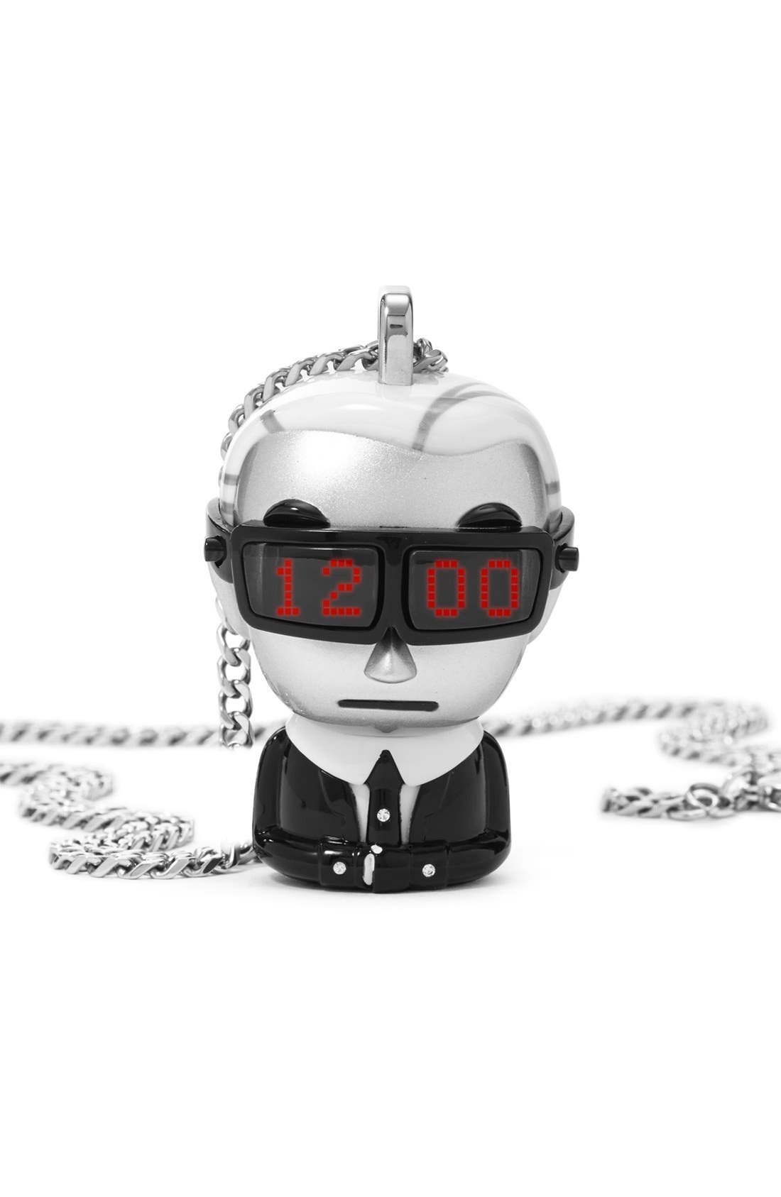 'tokidoki' Digital Necklace Watch, 37mm x 51mm,                         Main,                         color, Silver/ Black/ White